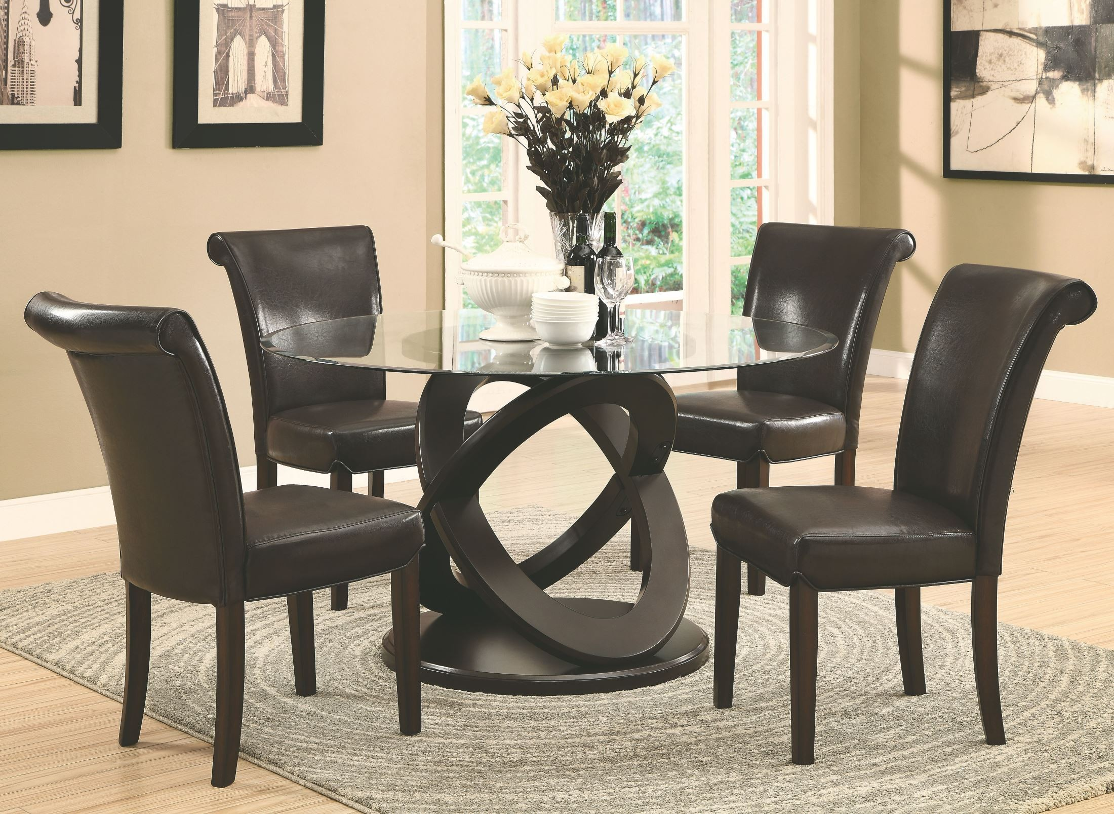 Dark Espresso 48 Diameter Tempered Glass Dining Table From Monarch 174