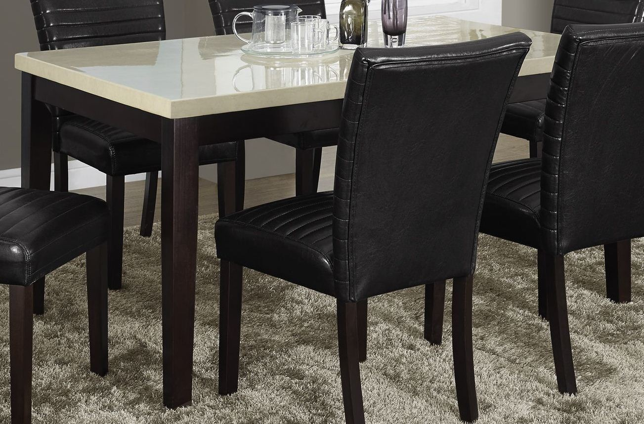 Cream lacquered marble look dining table from monarch for Looking for dining table
