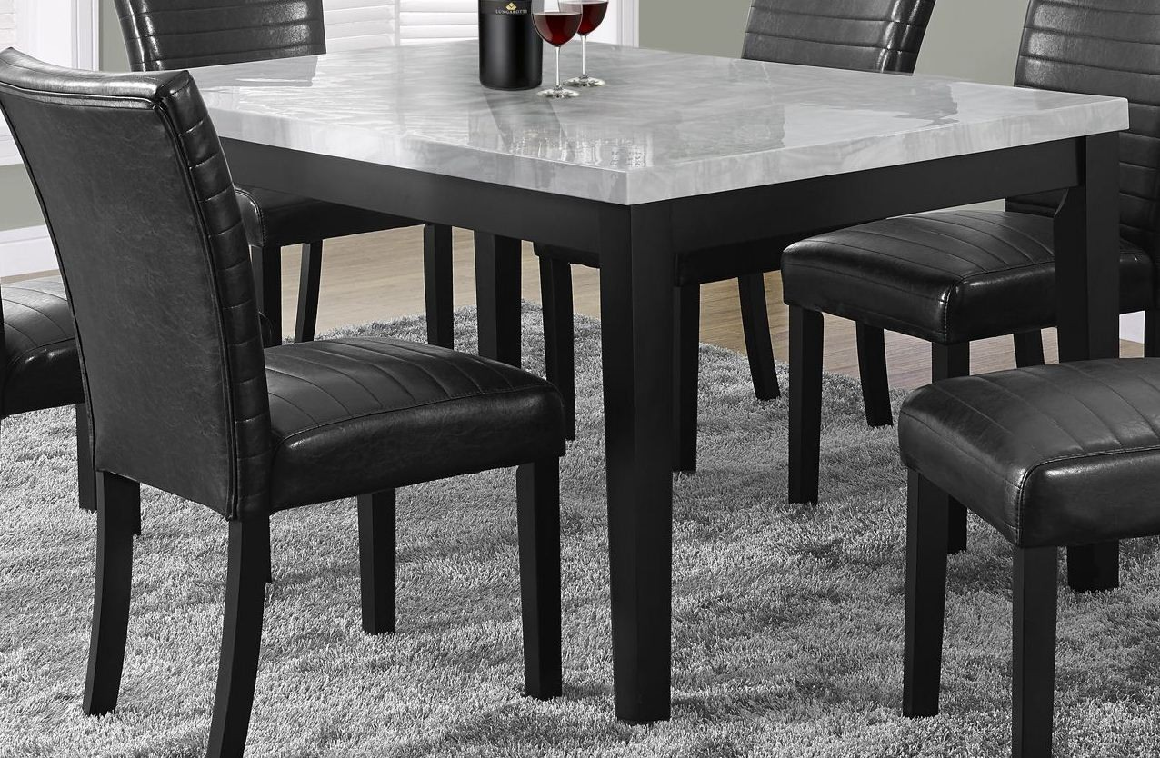Gray lacquered marble look dining table from monarch 1974 for Looking for dining table