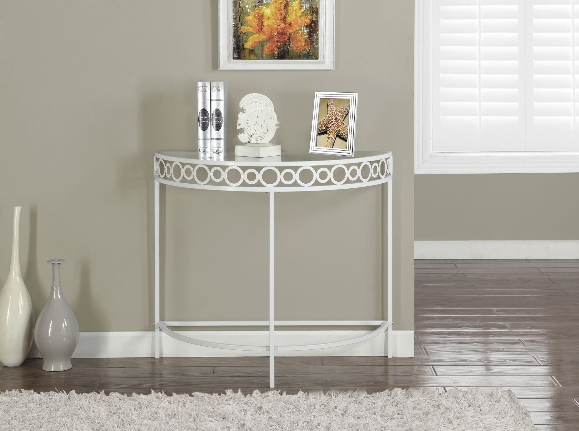 white hall console accent table from monarch 2122