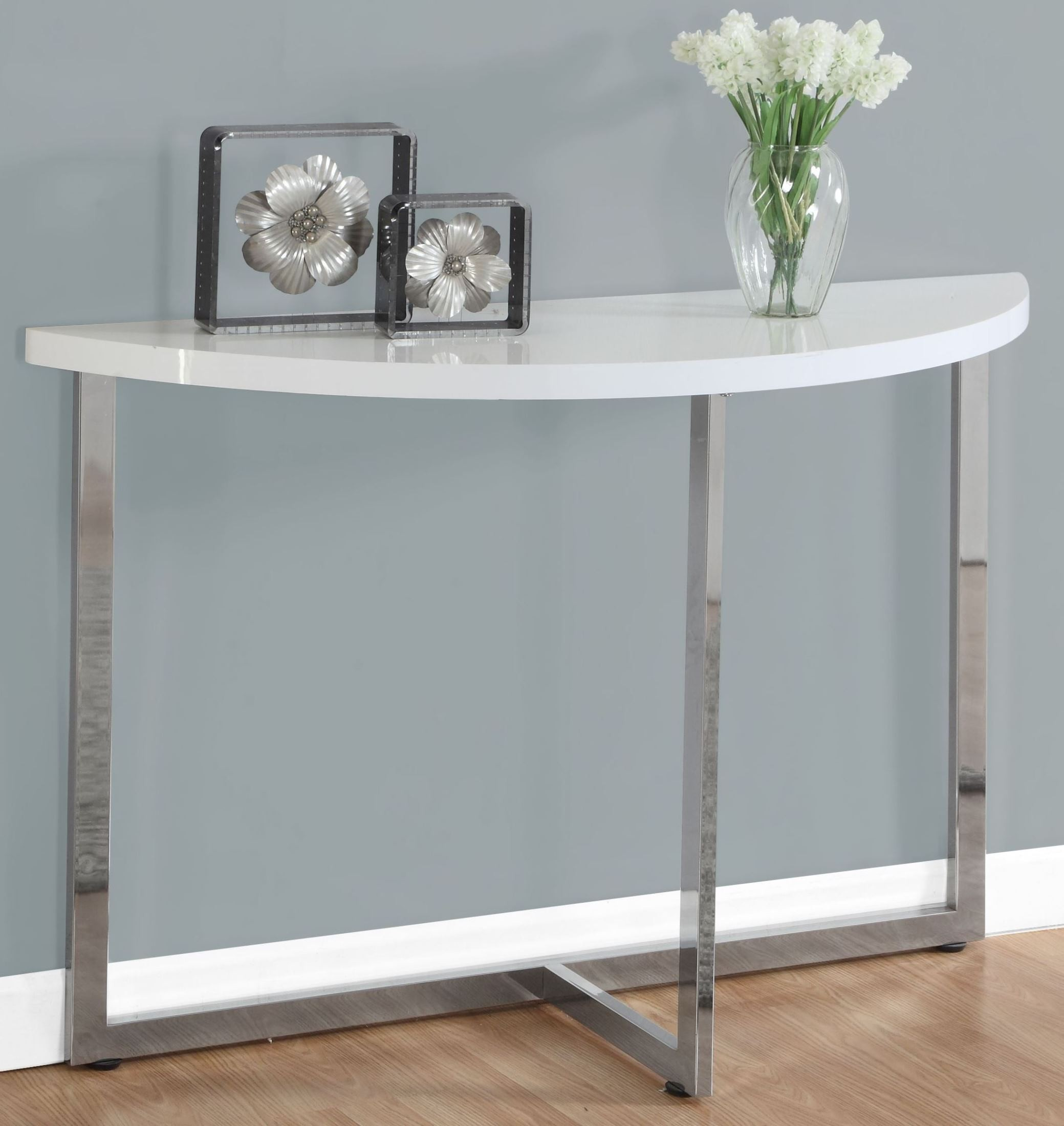 Glossy white 48 console table 3040 monarch for 48 inch sofa table