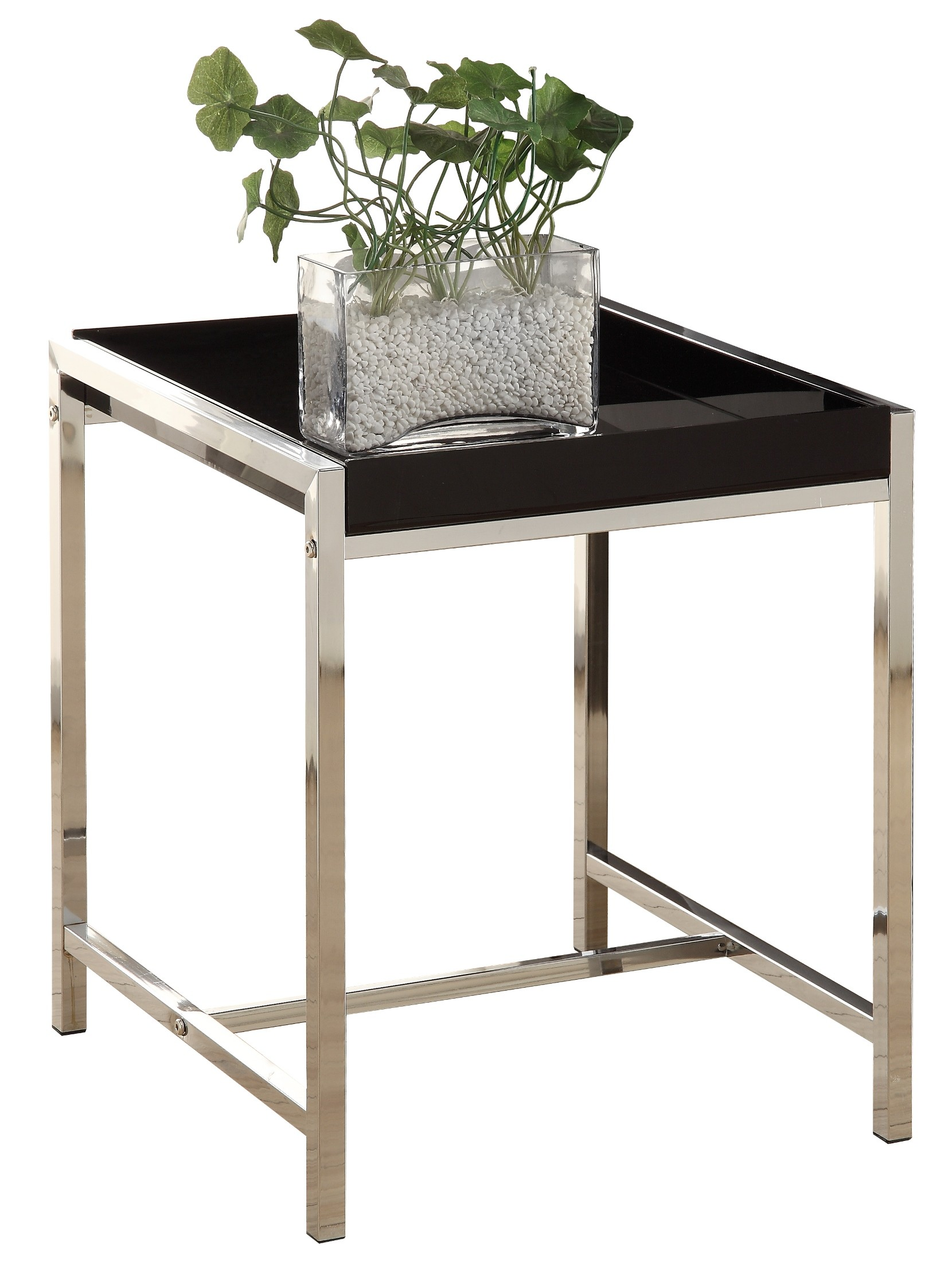 3049 Black Acrylic Chrome Metal Accent Table From