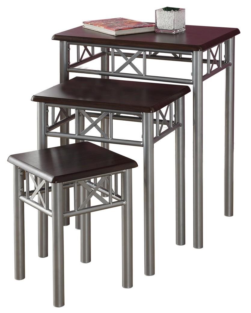 Metal Nesting Tables ~ Cappuccino silver metal pcs nesting tables i
