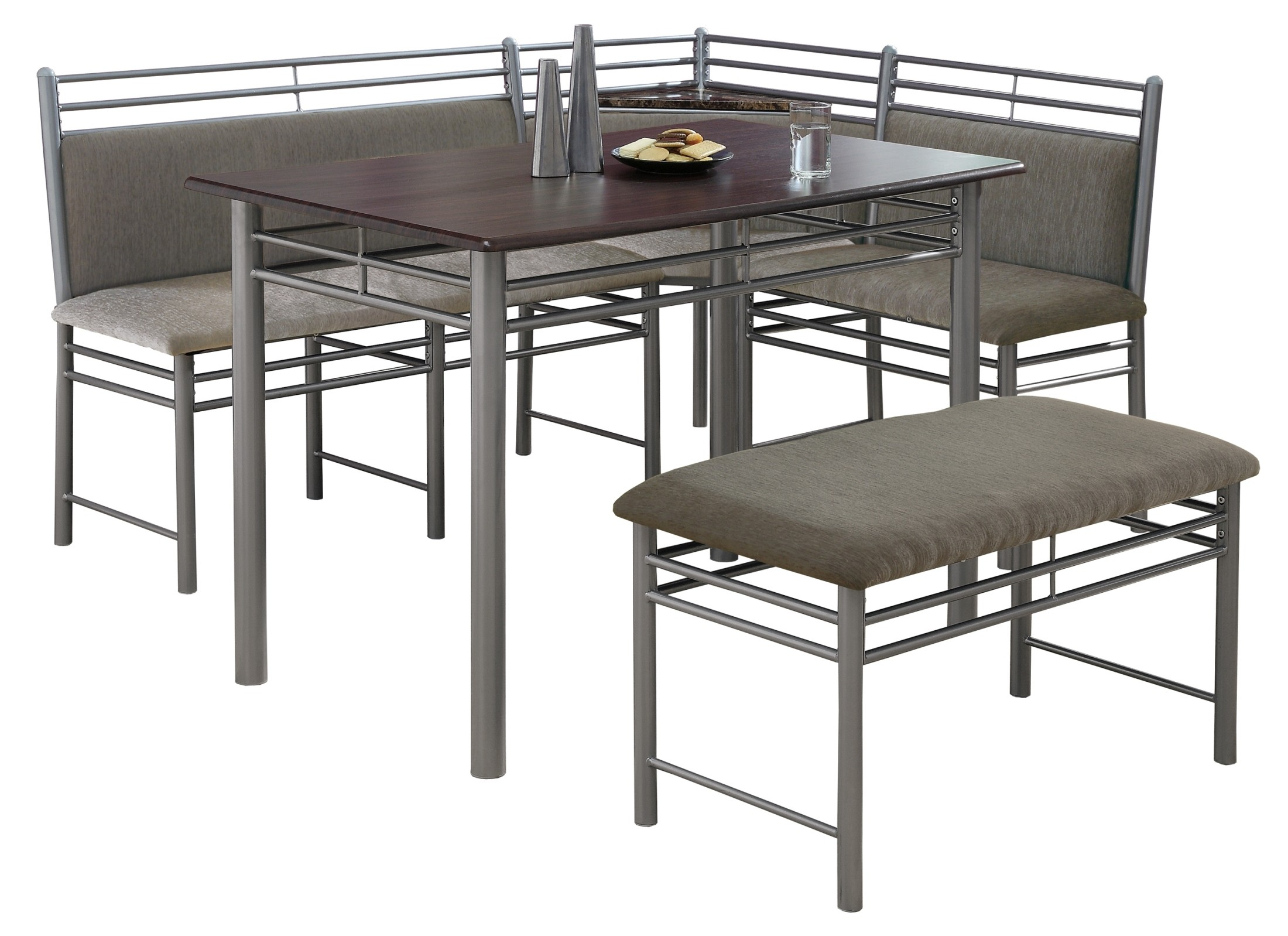 3076 cappuccino silver metal corner 3pcs dining set i 3076 monarch