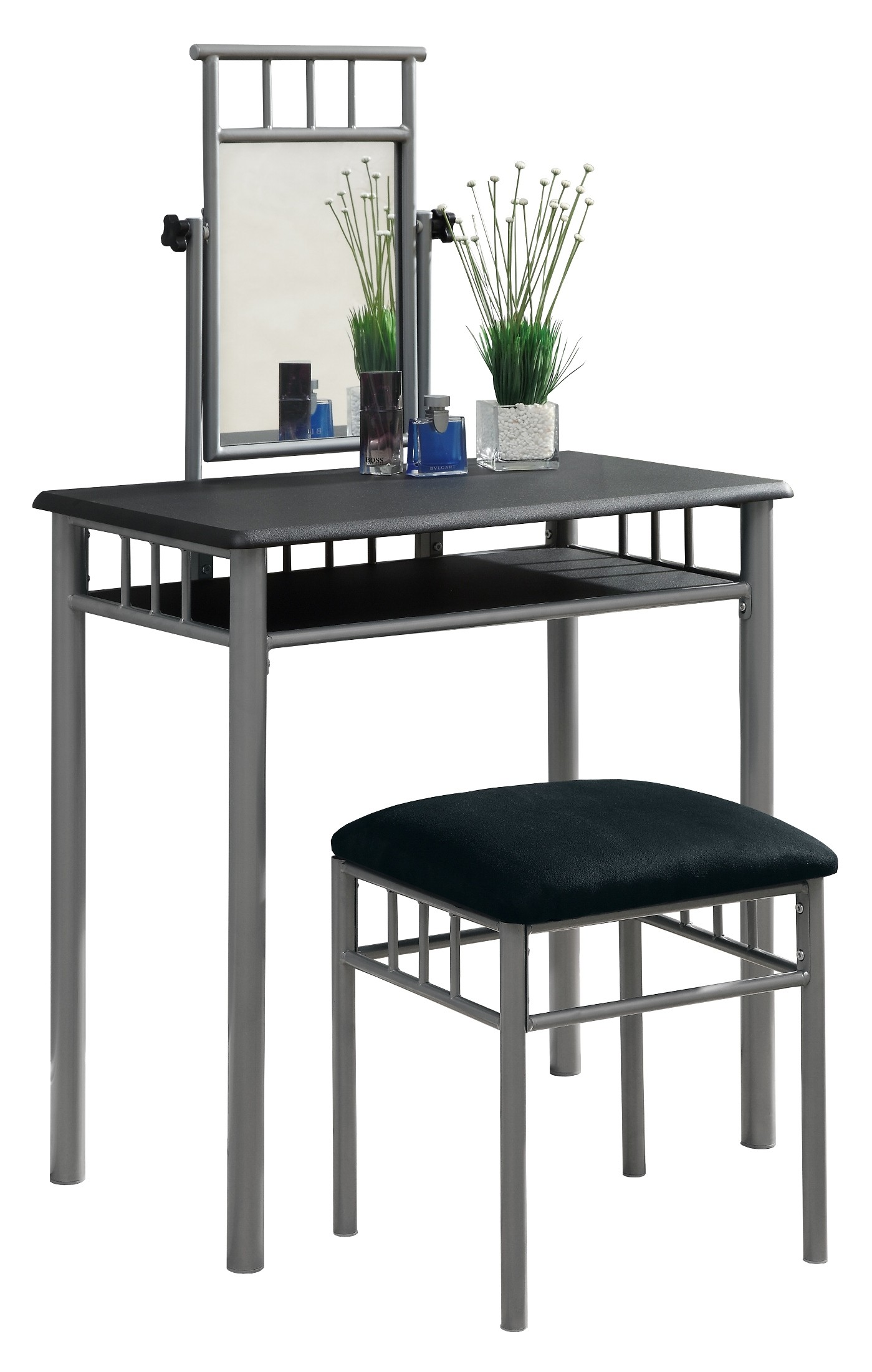 3092 Black Silver Metal Vanity With Stool From Monarch