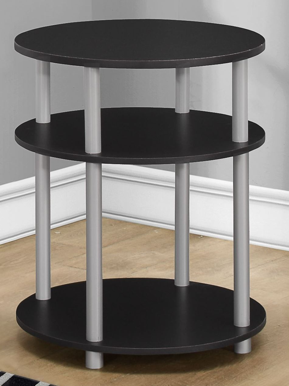 Black round accent table 3133 monarch for Black round end table