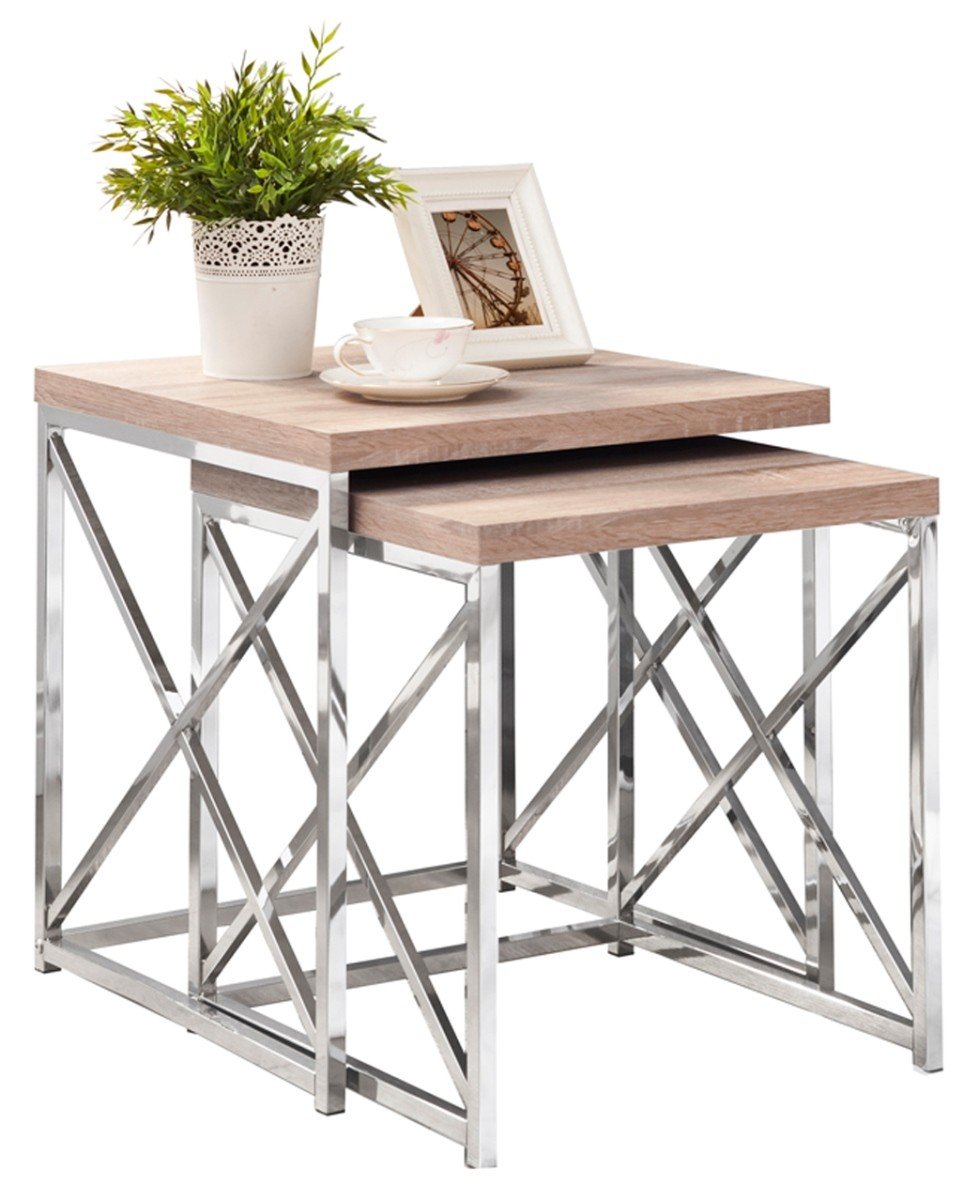 Natural chrome metal pcs nesting tables from