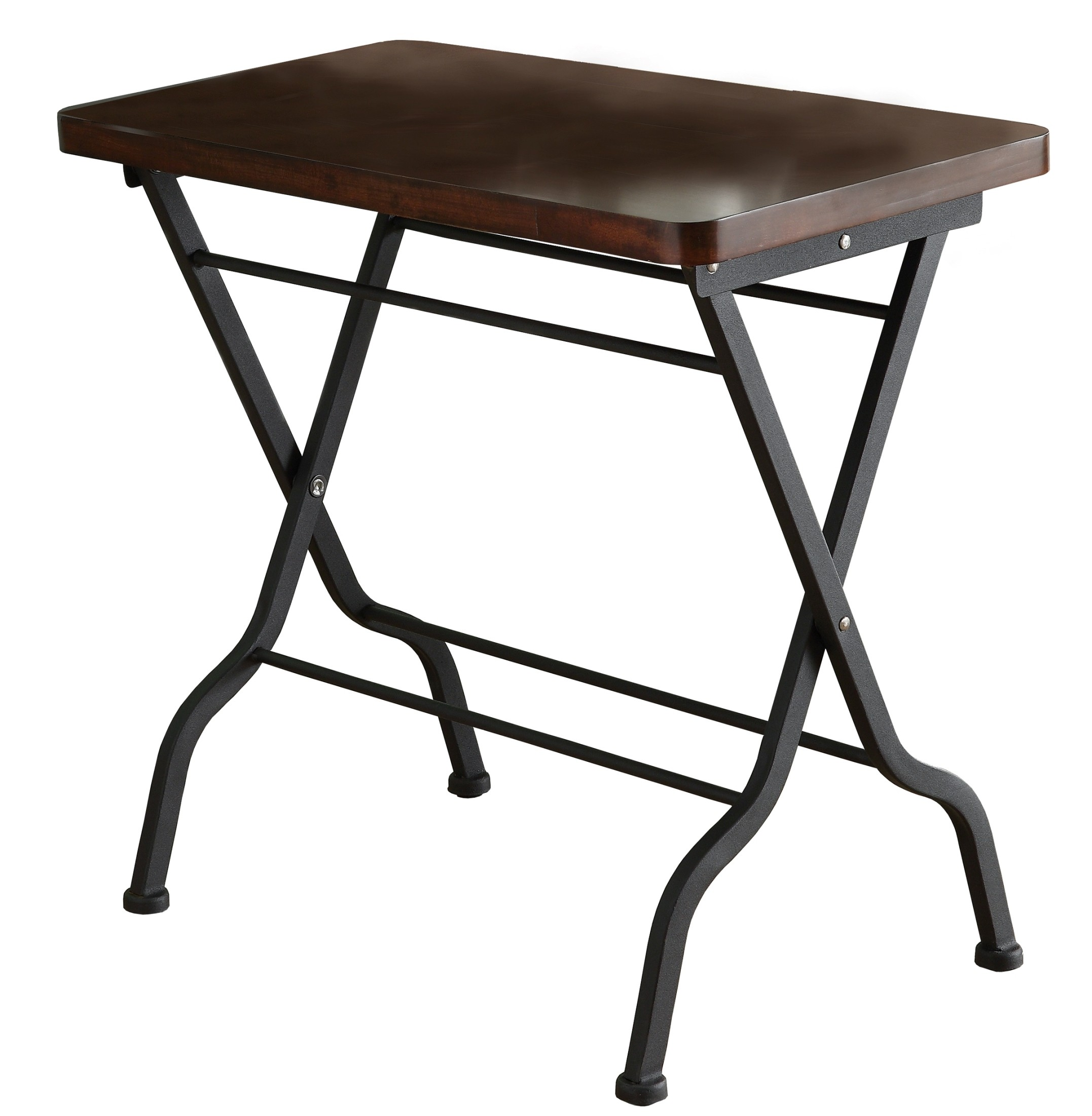 3309 Cherry Charcoal Black Metal Folding Accent Table