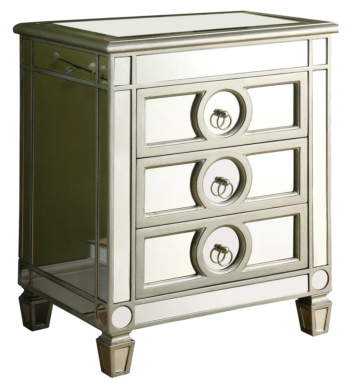 Mirrored Accent Table: 3701 Brushed Silver / Mirrored 3 Drawer Accent Table From