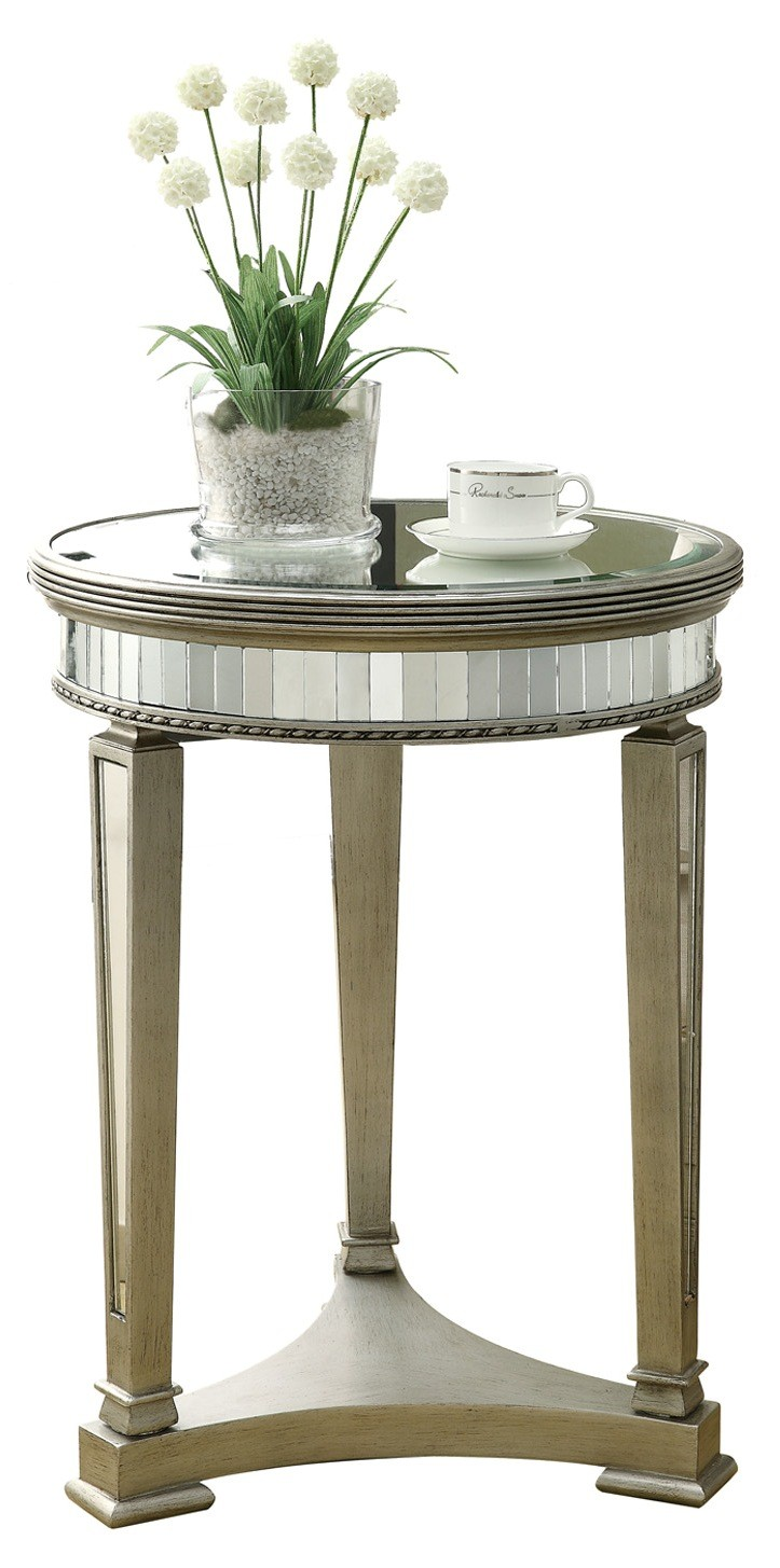 3705 Brushed Silver Mirrored Accent Table From Monarch