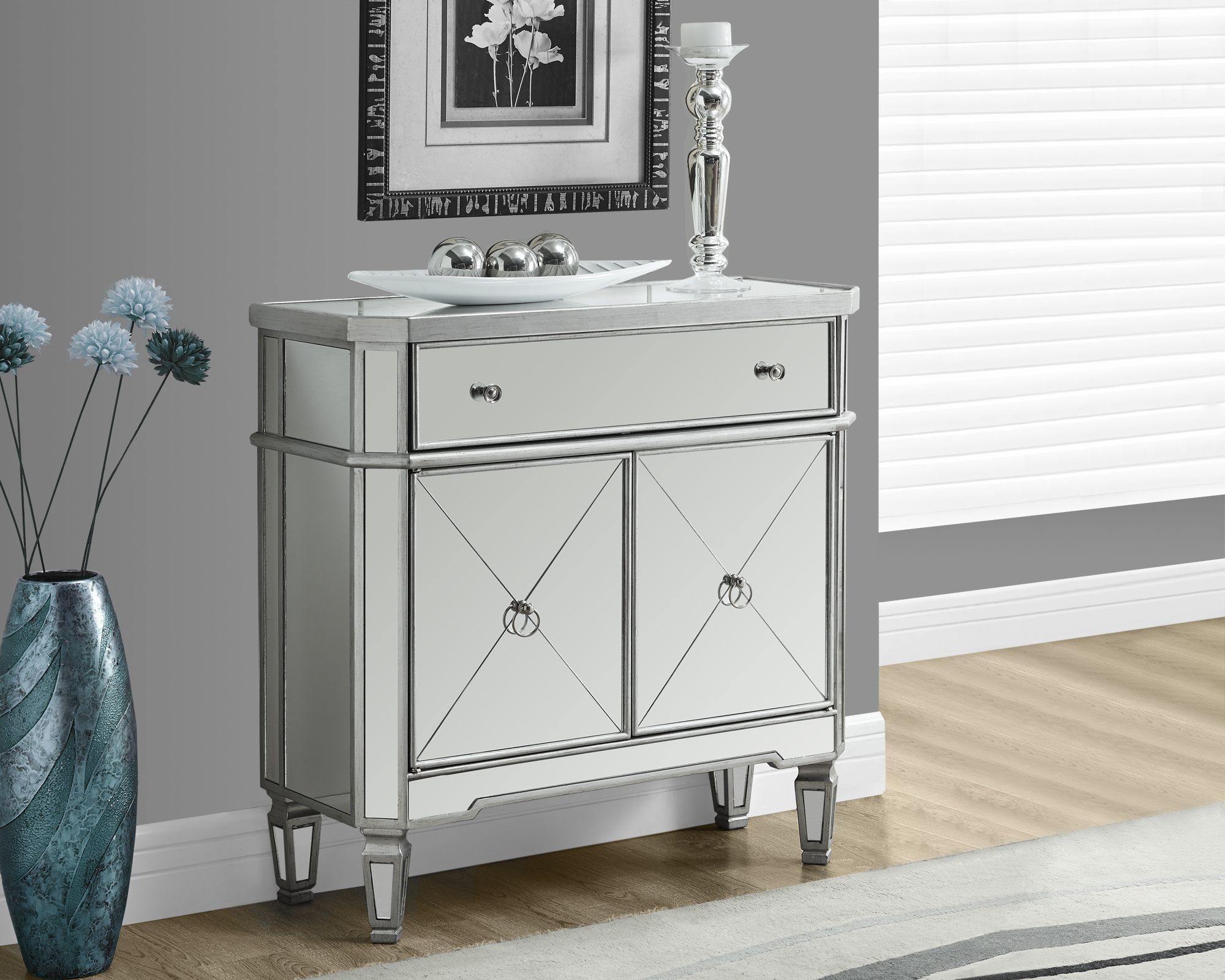 Brushed Silver 32 Mirrored Accent Table From Monarch