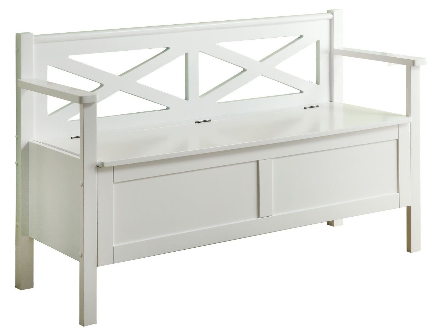 4504 White Solid Wood Storage Bench From Monarch I 4504