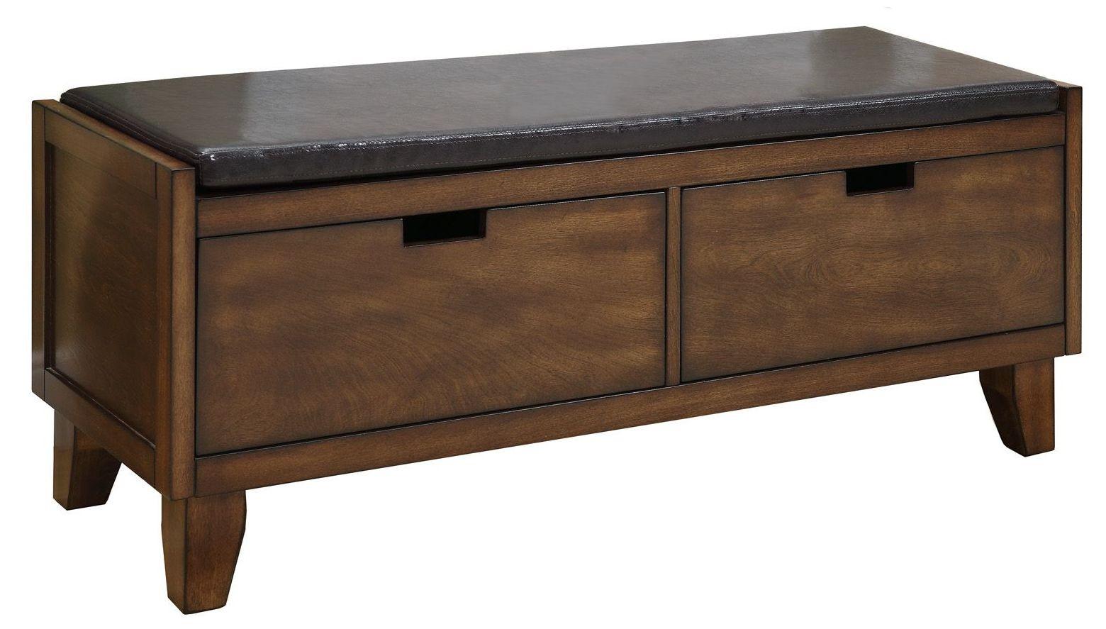 4508 Dark Walnut Solid Wood Storage Bench From Monarch I 4508 Coleman Furniture