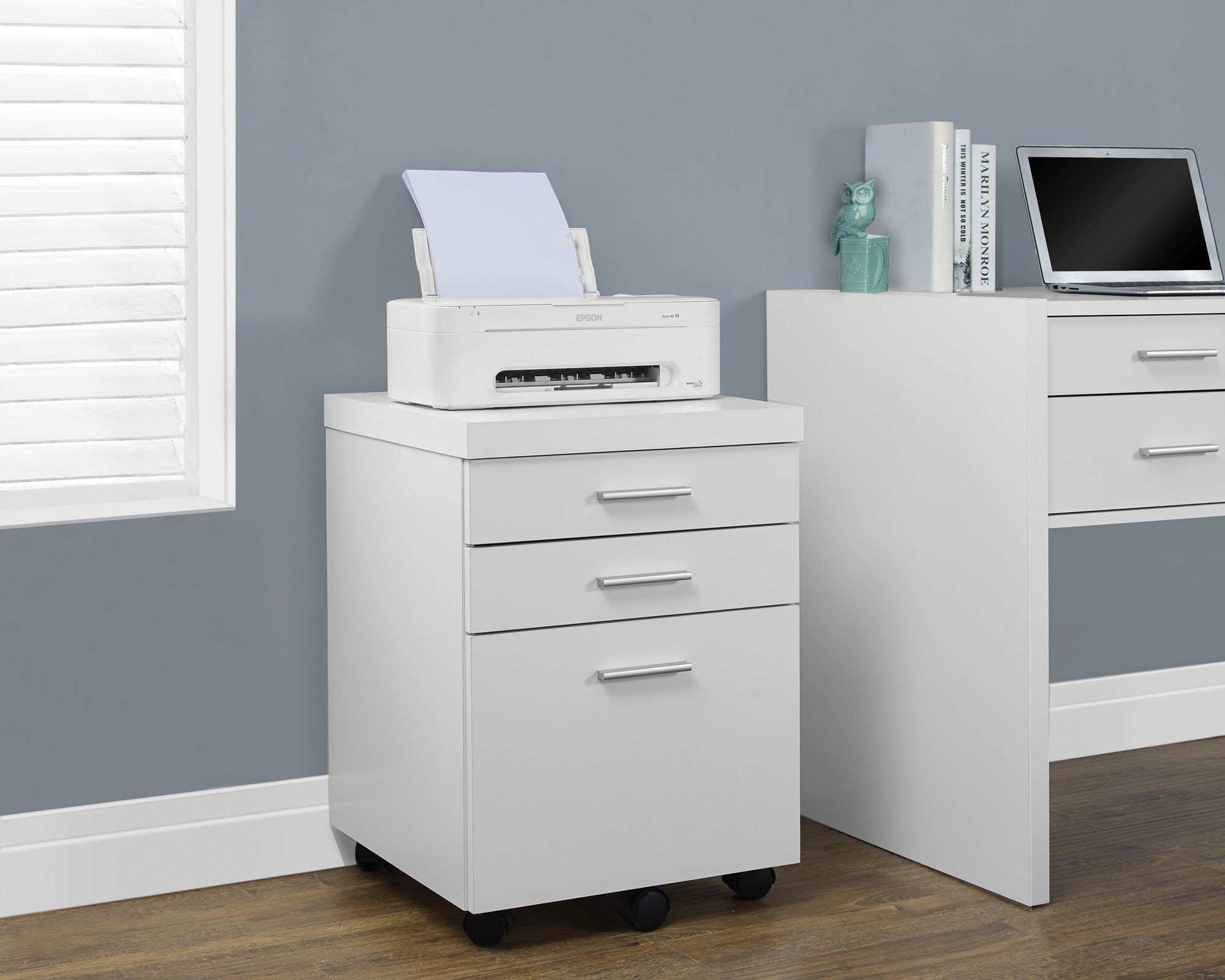 White Hollow-Core 3 Drawer Castors File Cabinet from ...