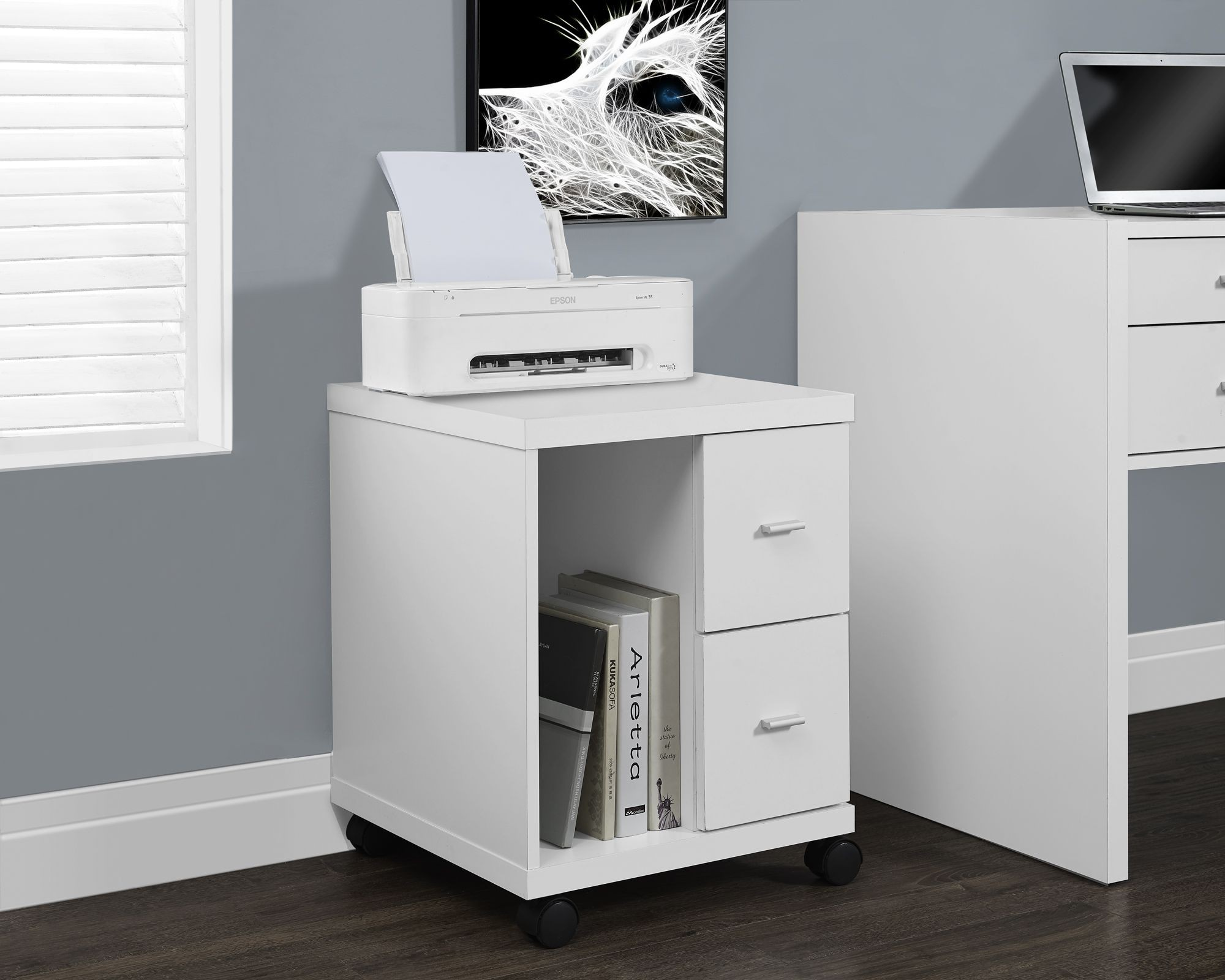 White hollow core 2 drawer castors computer stand from for Meuble bureau walmart