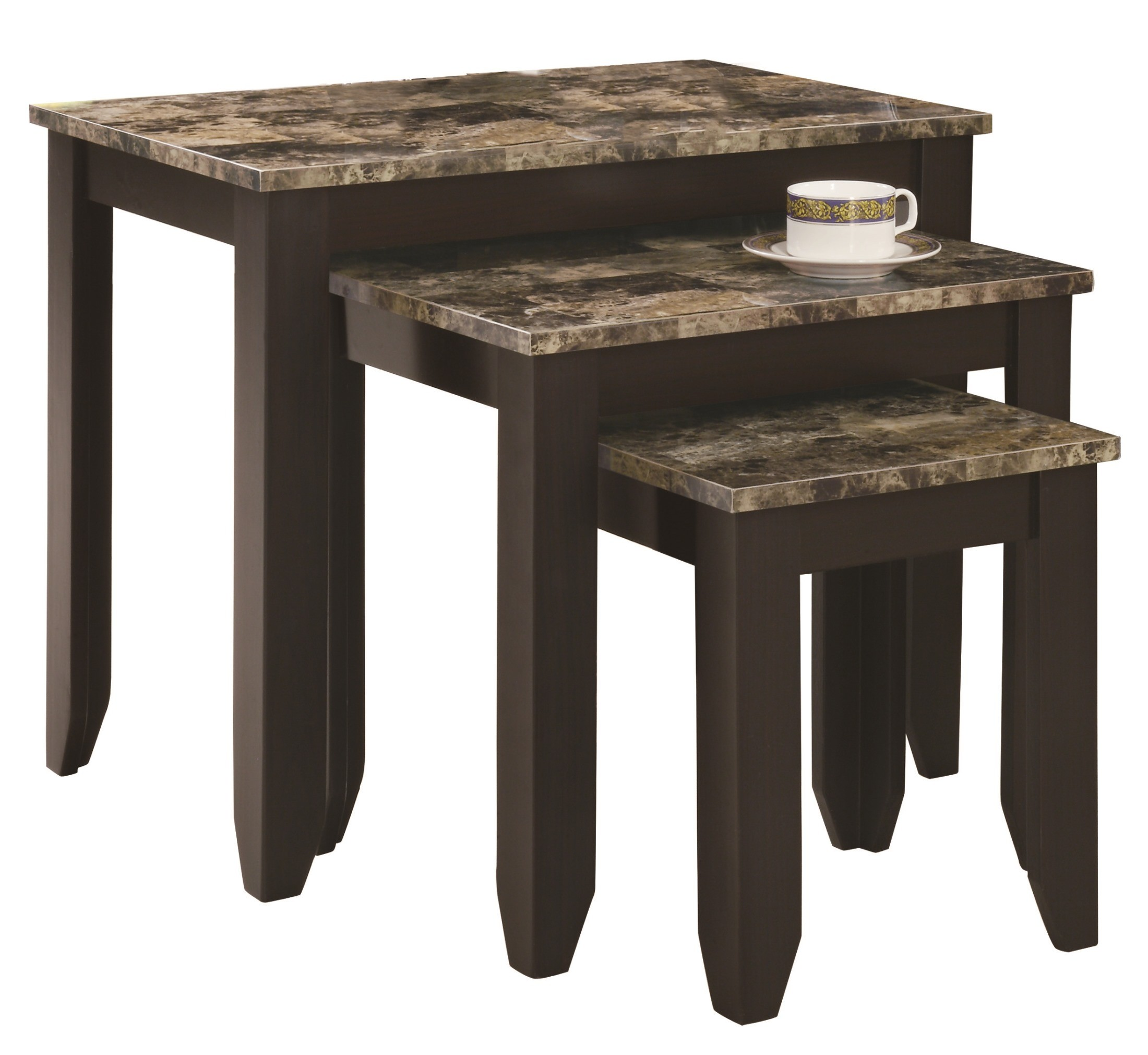 7982N Cappuccino / Marble Look Top 3Pcs Nesting Tables From Monarch (I . Full resolution  portraiture, nominally Width 2200 Height 2021 pixels, portraiture with #8B7A40.