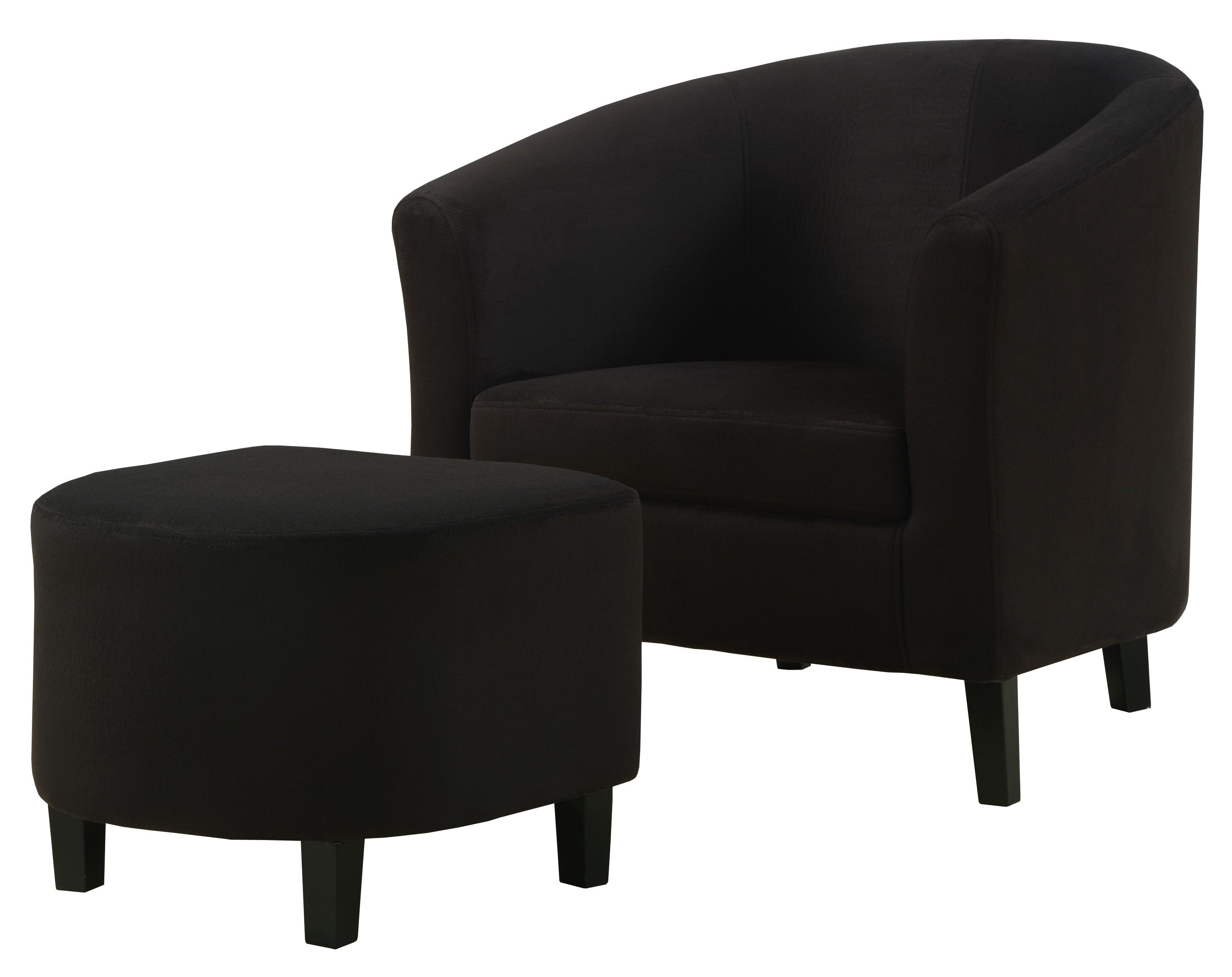 Black padded microfiber accent chair and ottoman from