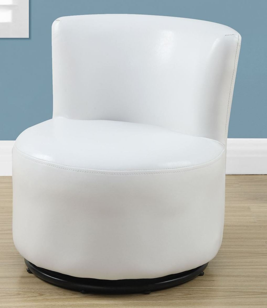 White Leather Juvenile Swivel Chair 8153 Monarch