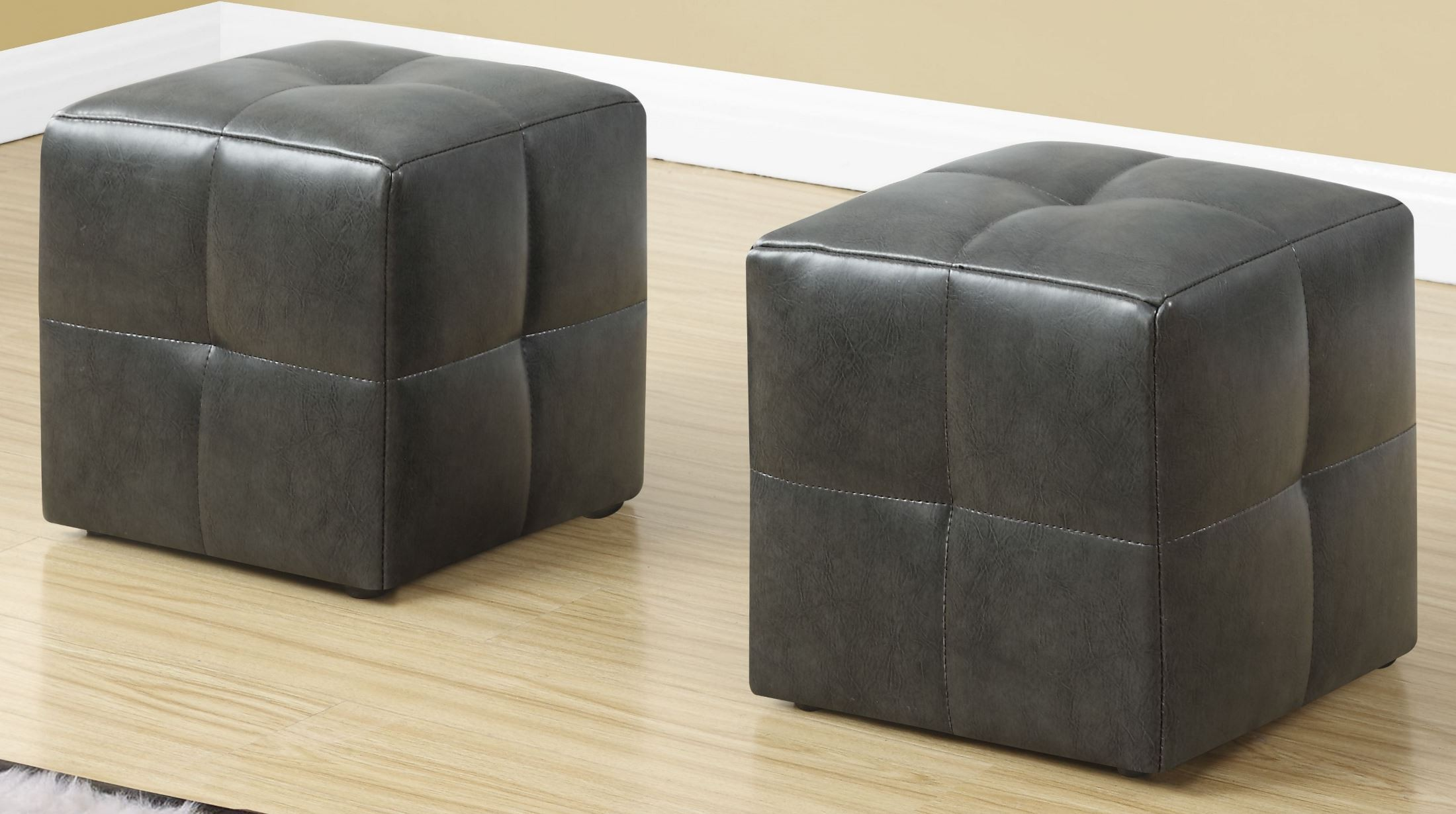 Leather Ottomans Set Of Three ~ Charcoal grey leather juvenile ottoman set of monarch