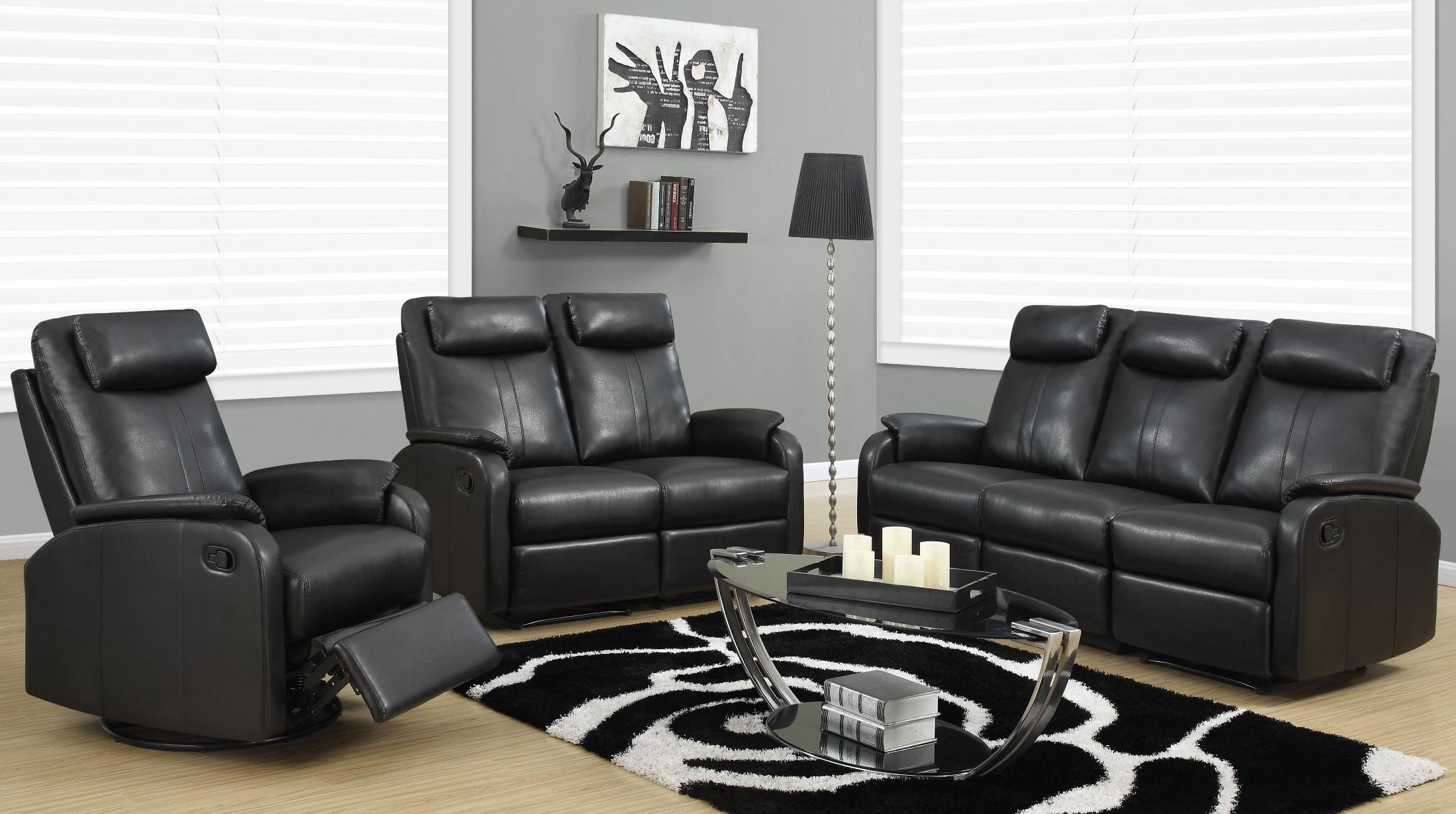 81bk 3 black bonded leather reclining living room set 81bk 3 monarch. Black Bedroom Furniture Sets. Home Design Ideas