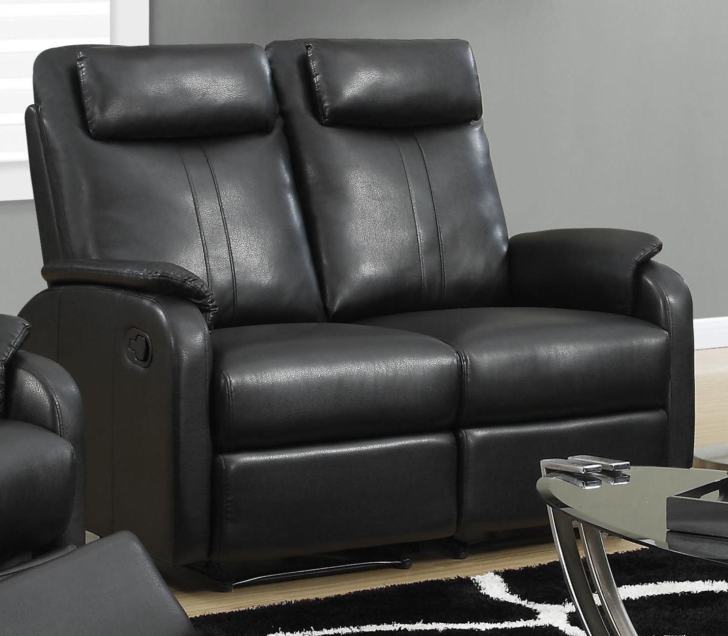 81bk 2 Black Bonded Leather Reclining Loveseat 81bk 2 Monarch