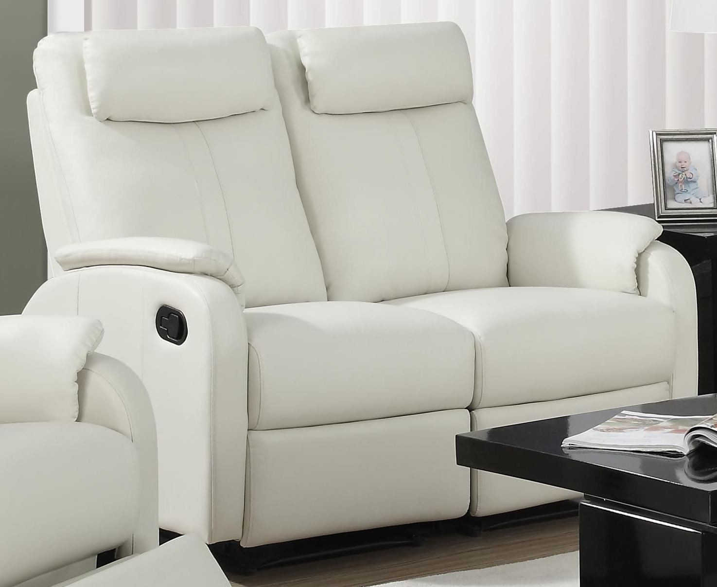 81iv 2 Ivory Bonded Leather Reclining Loveseat 81iv 2 Monarch