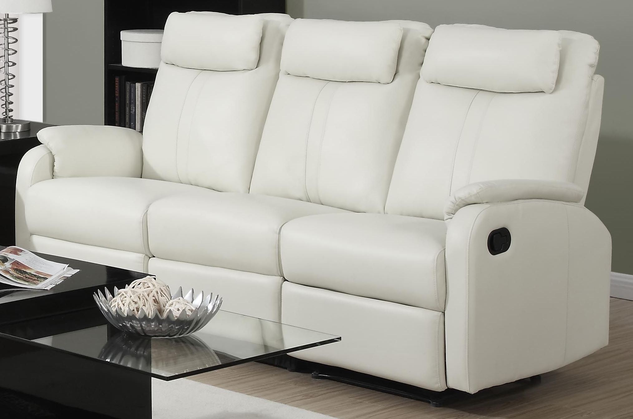 81iv 3 ivory bonded leather reclining living room set Ivory leather living room furniture
