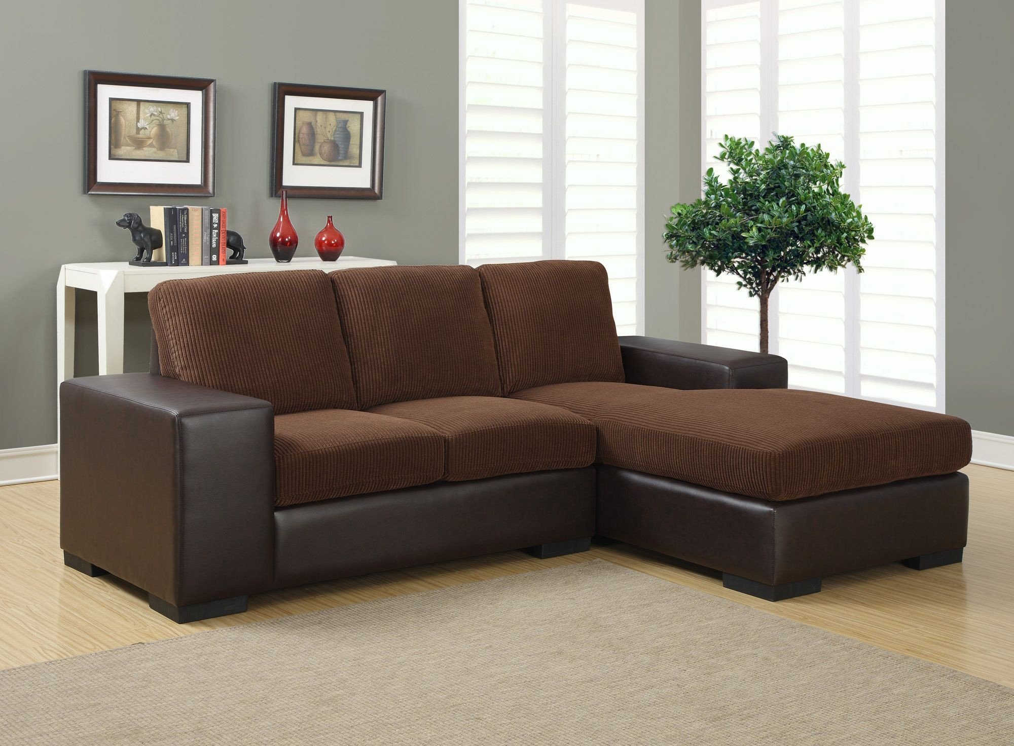 Dark brown corduroy brown sofa sectional from monarch for Brown corduroy couch