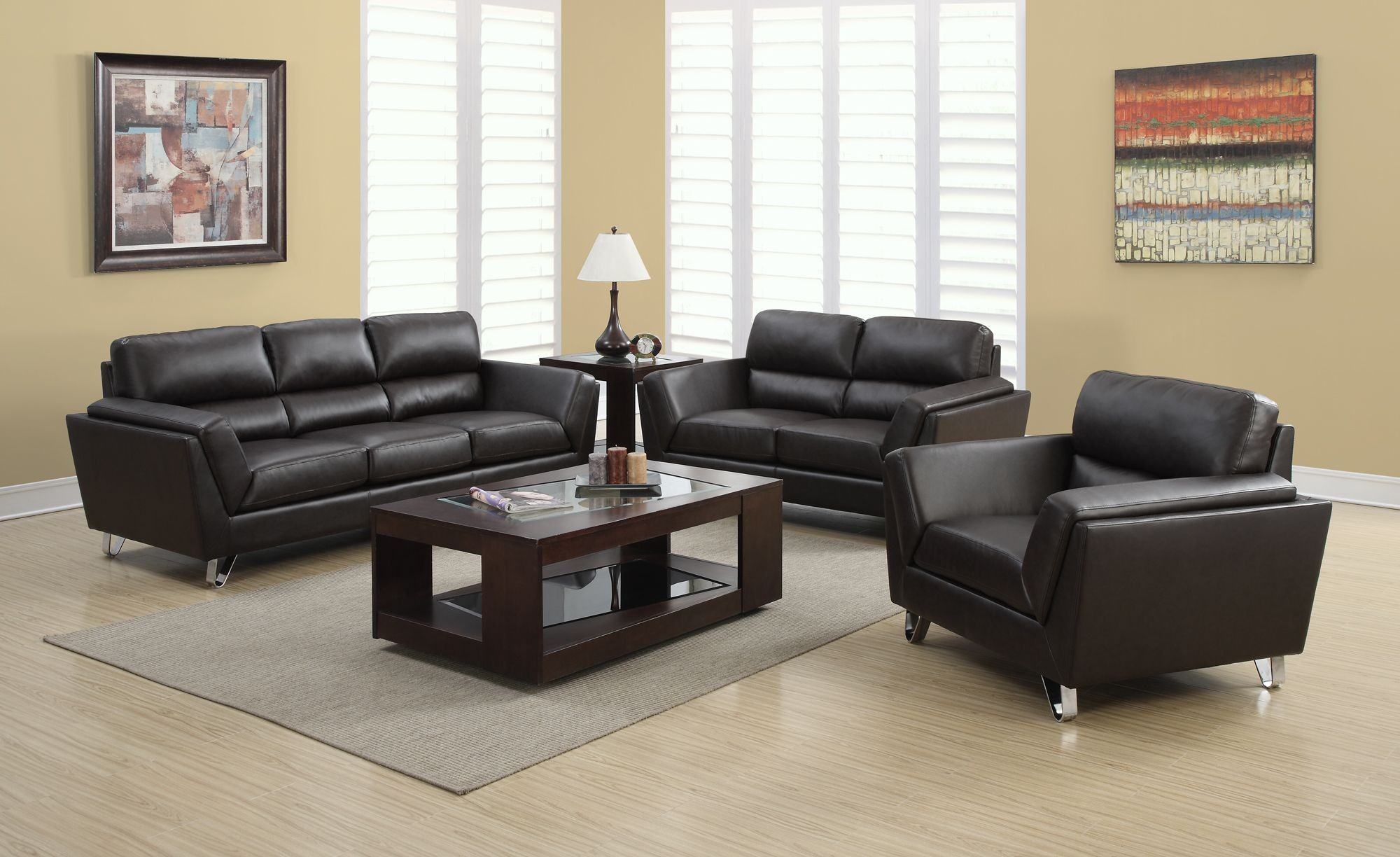 8210br dark brown bonded leather living room set 8210br for Dark brown living room set