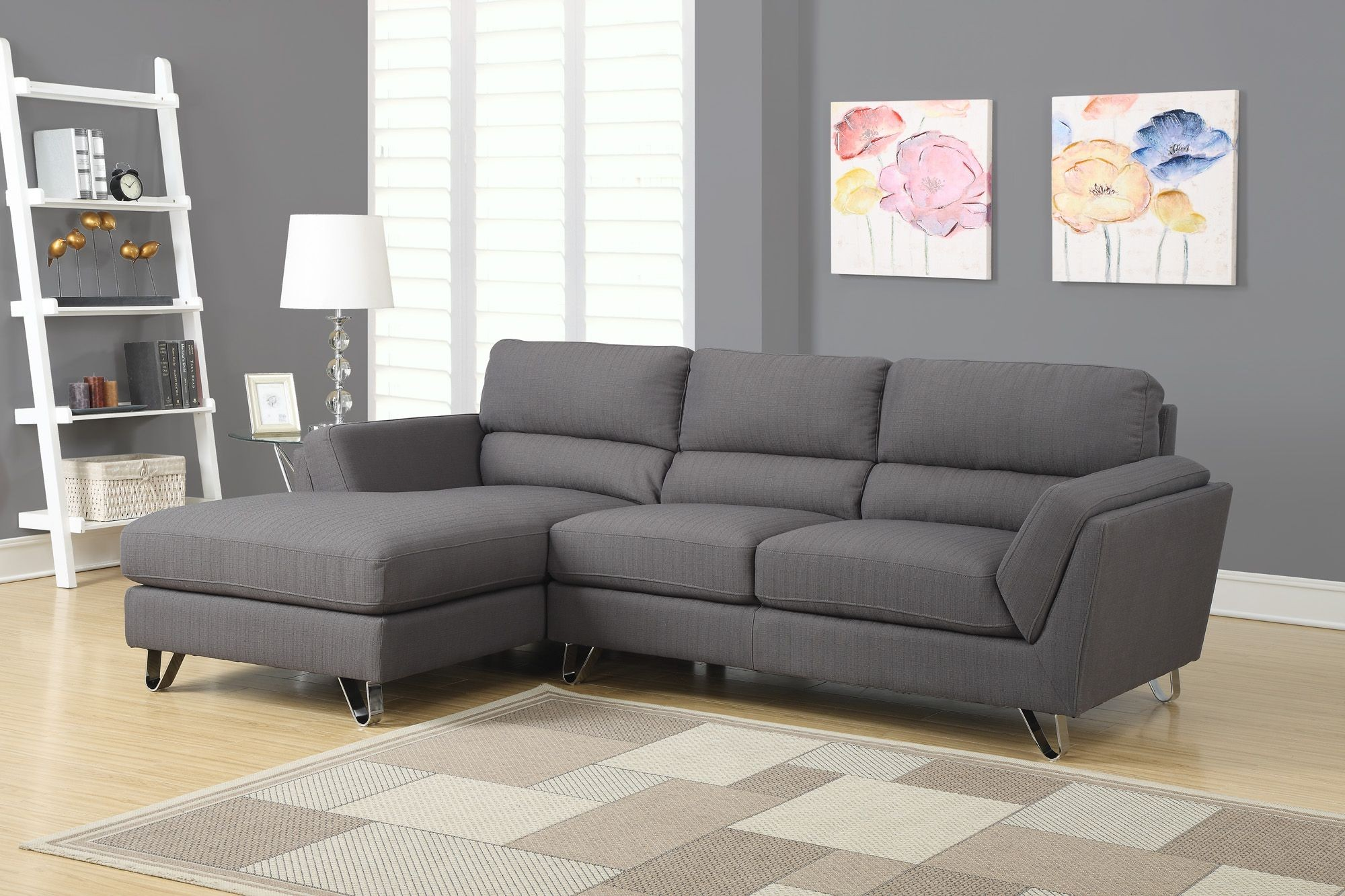 Charcoal gray linen sofa sectional from monarch 8210cg for Meuble brault martineau
