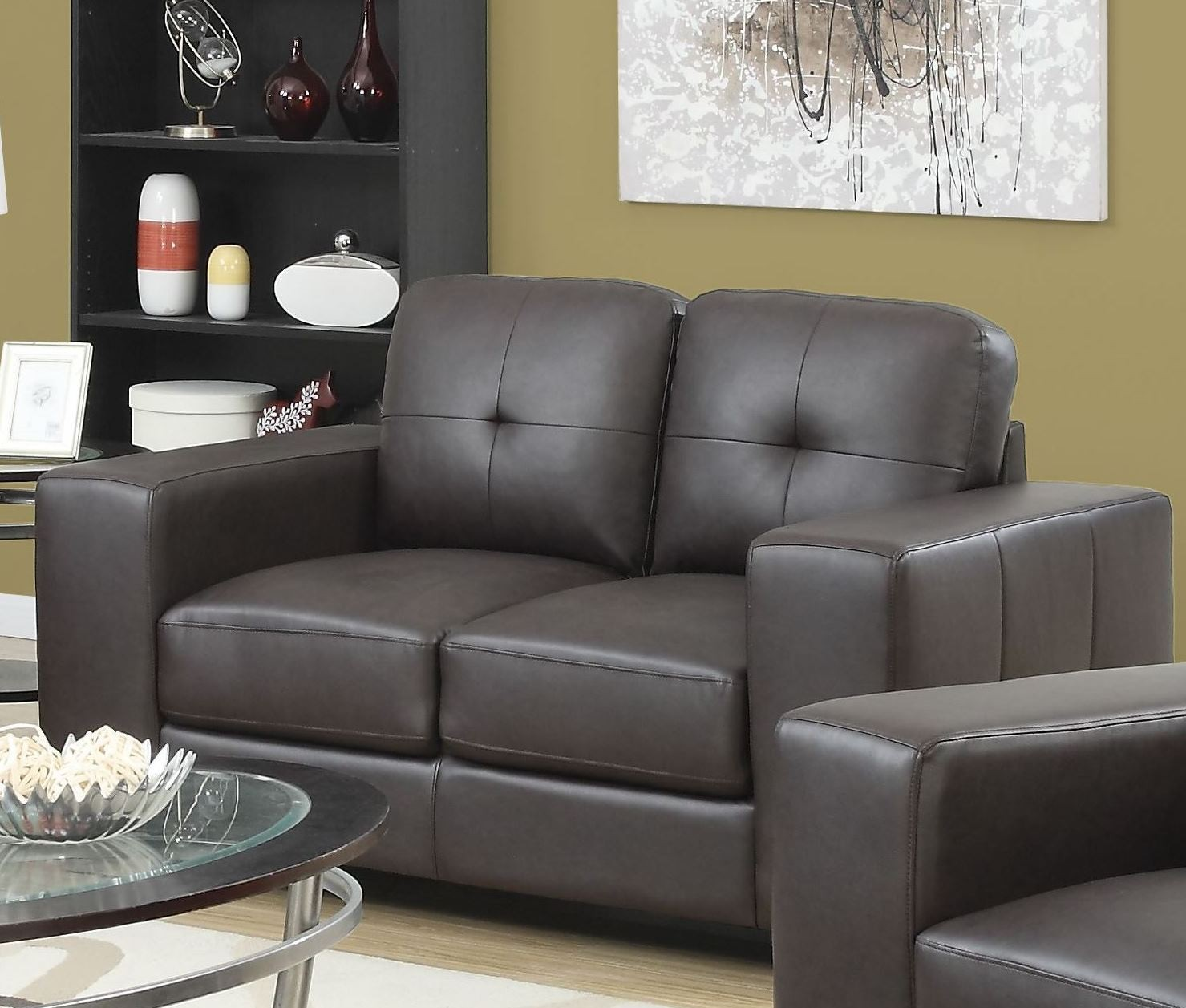 Dark brown bonded leather living room set 8223br monarch for Dark brown living room set