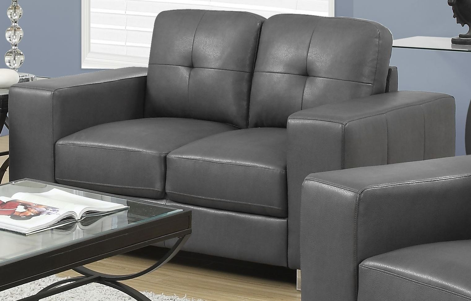 8222gy Charcoal Grey Bonded Leather Loveseat 8222gy Monarch