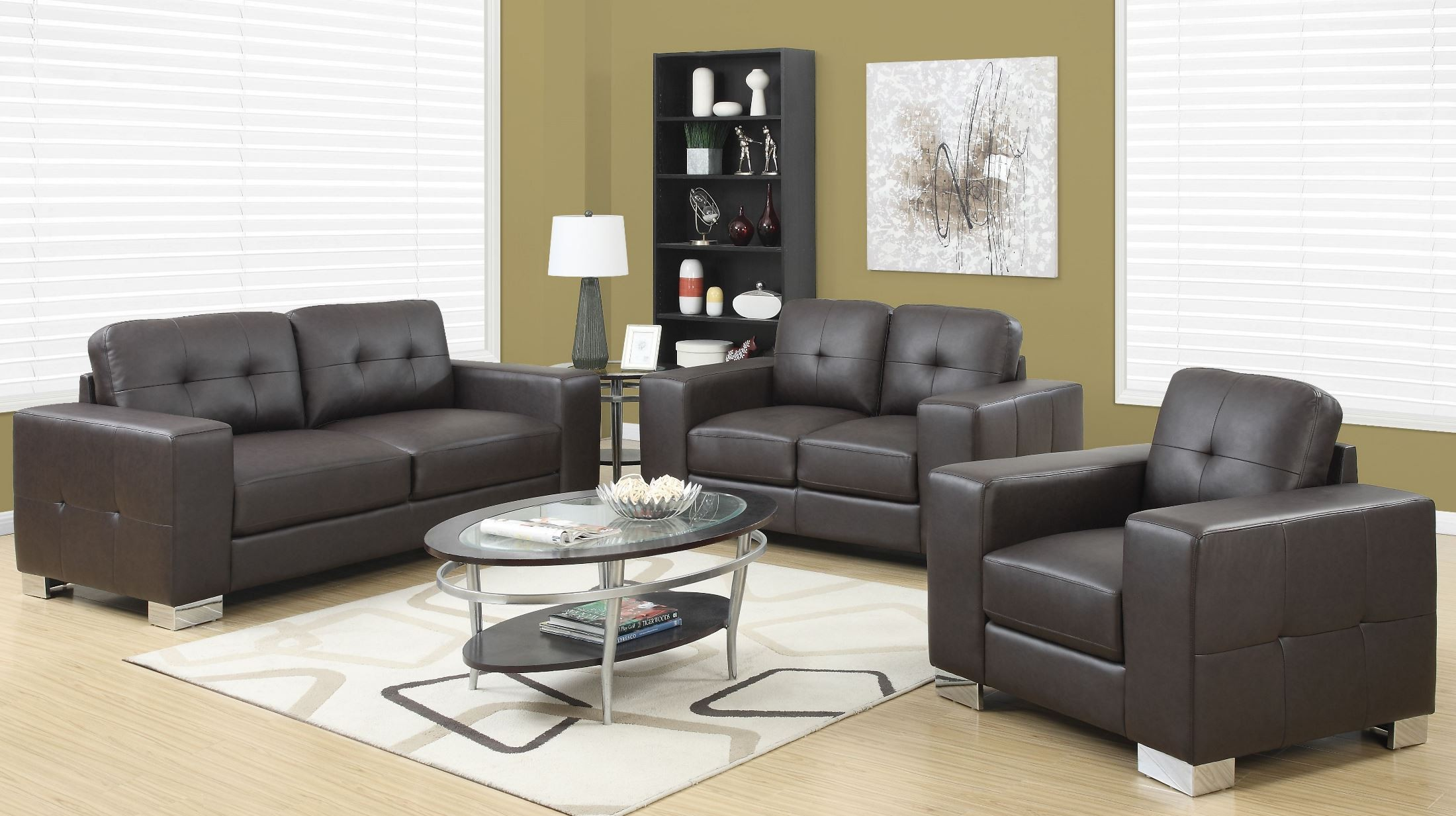 dark brown bonded leather living room set 8223br monarch. Black Bedroom Furniture Sets. Home Design Ideas
