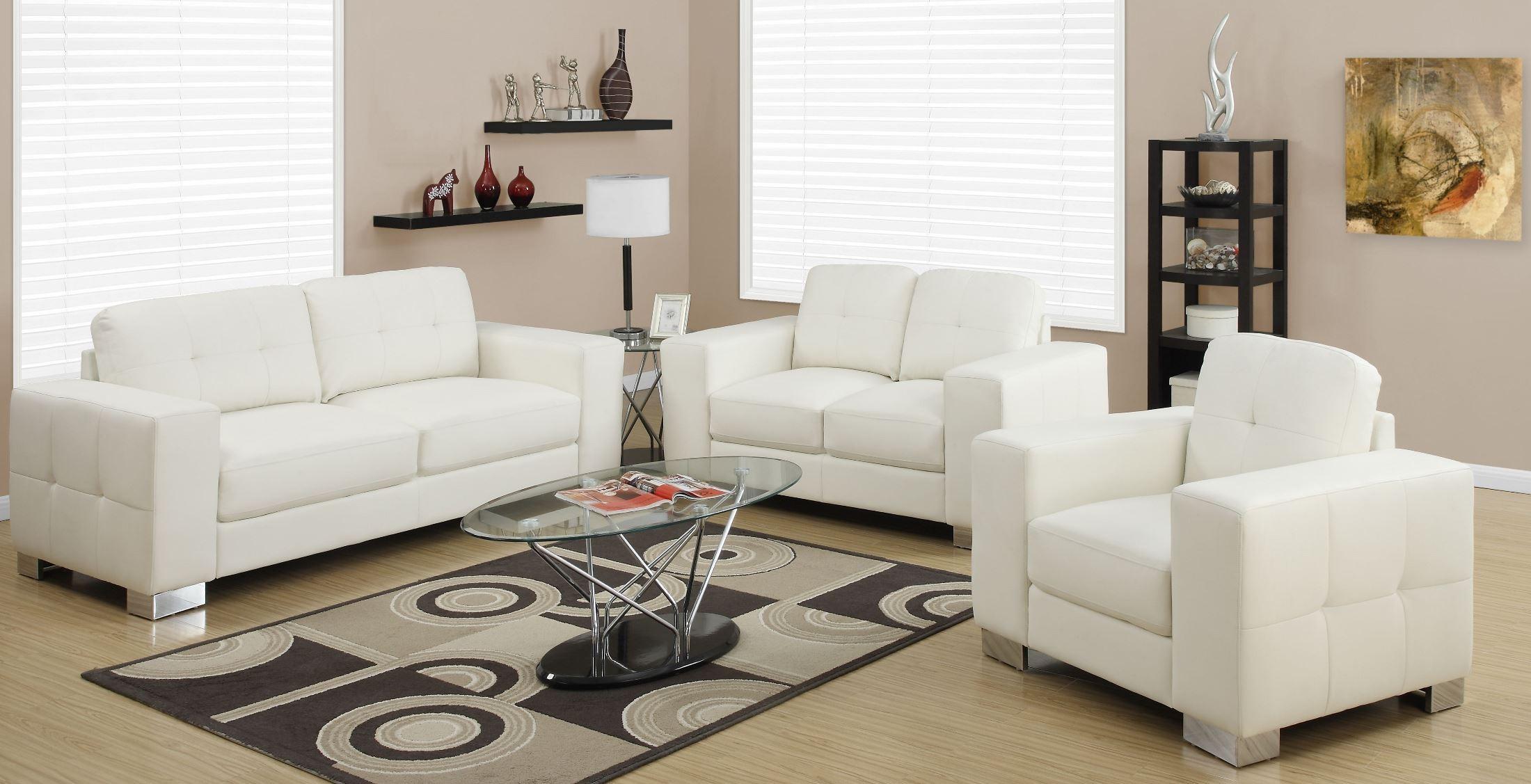 8223iv ivory bonded leather living room set 8223iv monarch Ivory leather living room furniture