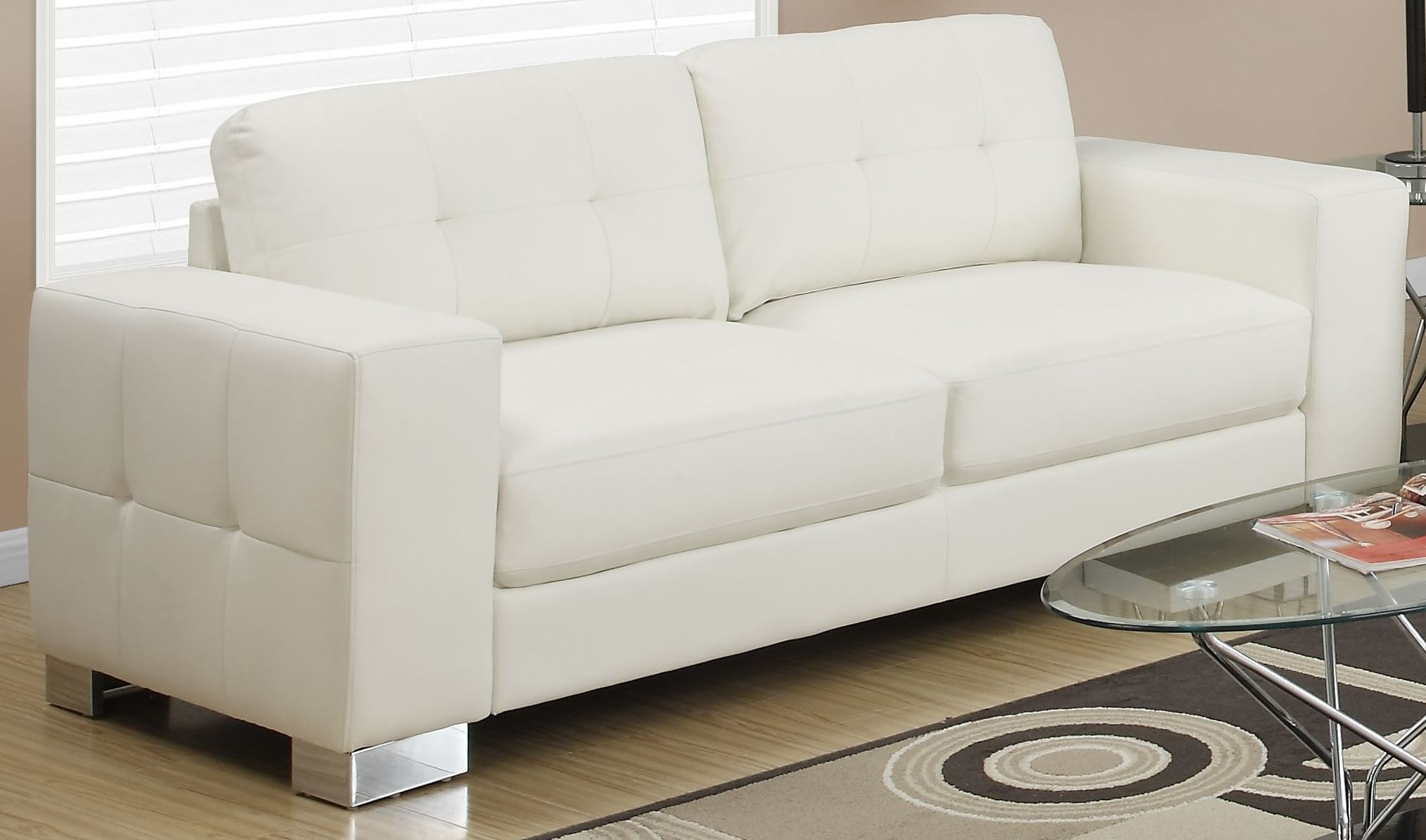 8223iv Ivory Bonded Leather Sofa 8223iv Monarch