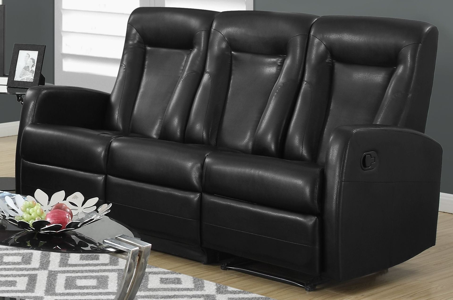82bk 3 black bonded leather reclining sofa 82bk 3 monarch
