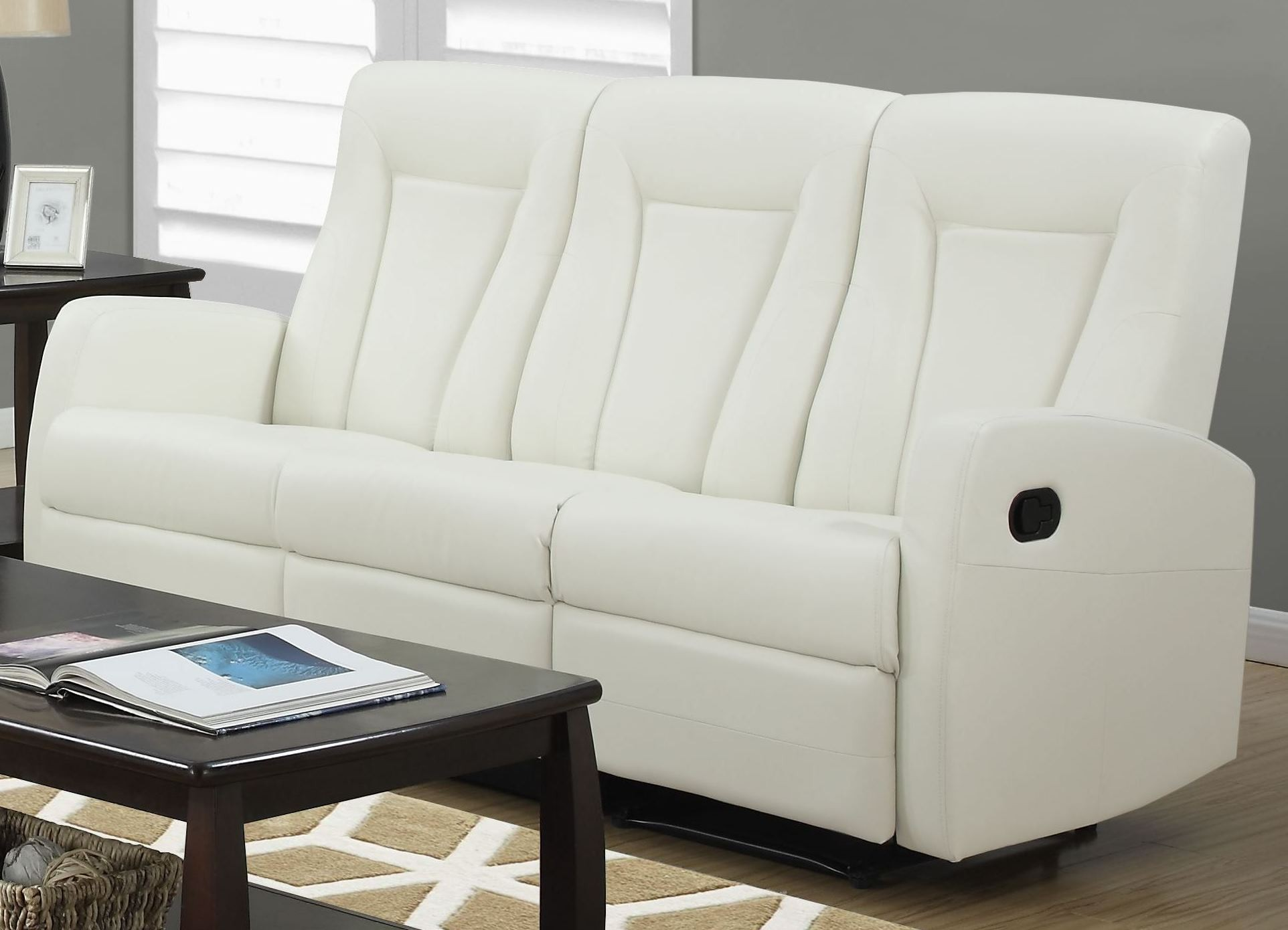 82iv 3 ivory bonded leather reclining living room set Ivory leather living room furniture