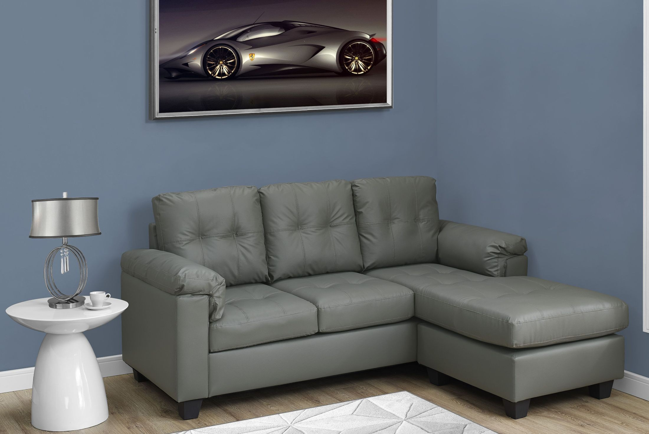 Light gray bonded leather sofa lounger 8390lg monarch for Light gray leather sofa