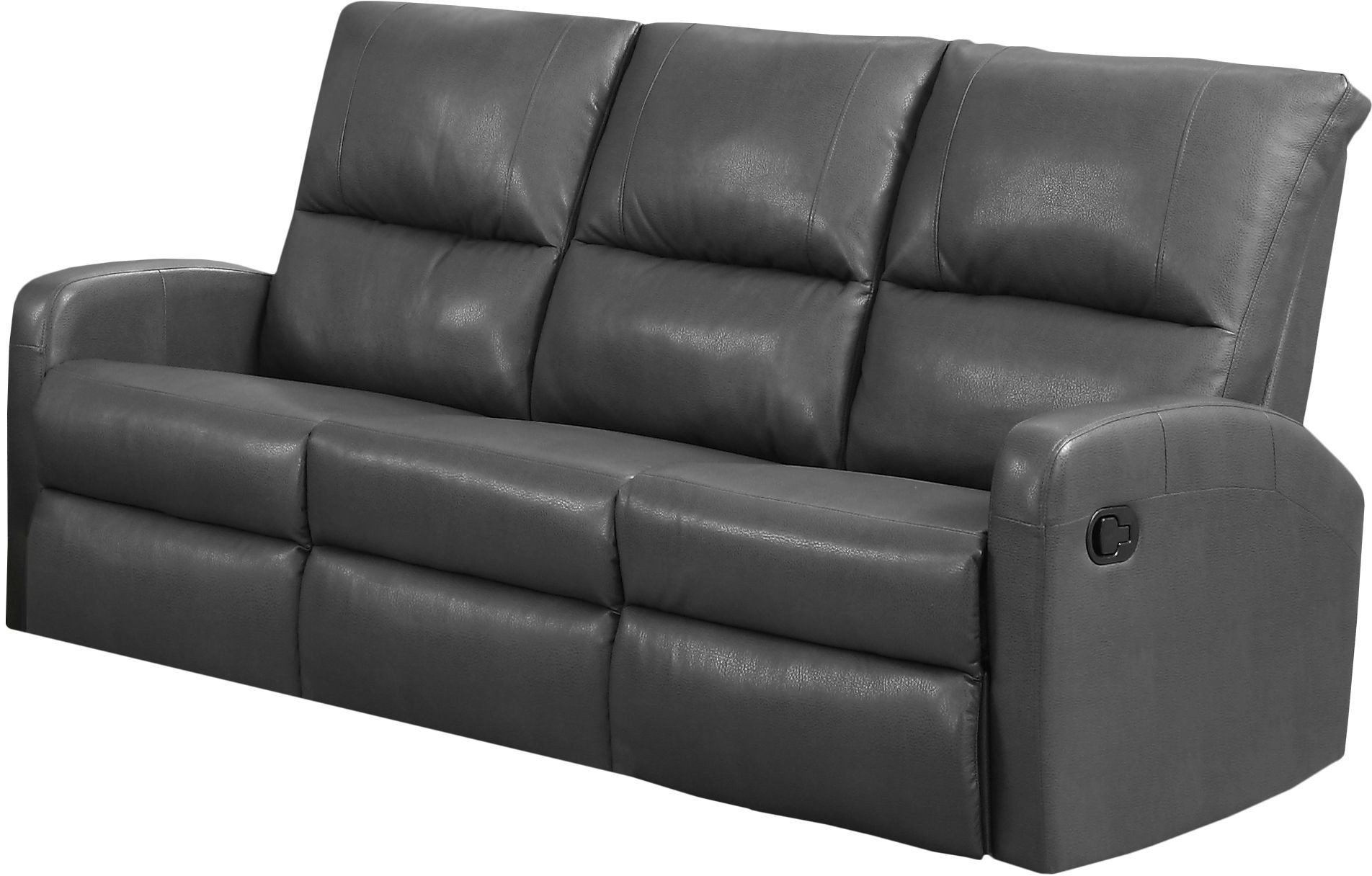84gy 3 charcoal grey bonded leather reclining sofa 84gy 3 monarch. Black Bedroom Furniture Sets. Home Design Ideas