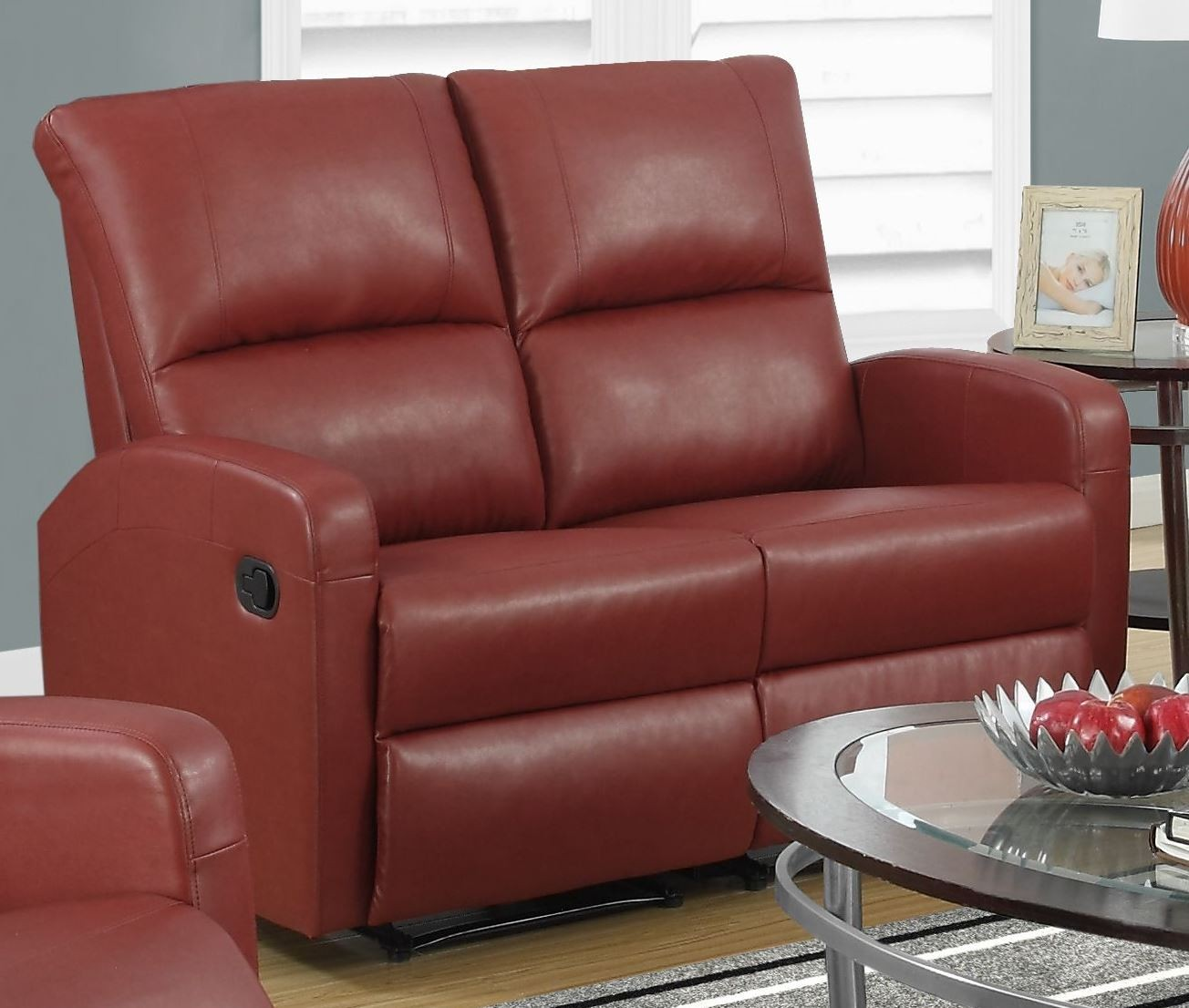 Red Bonded Leather Reclining Loveseat 84rd 2 Monarch