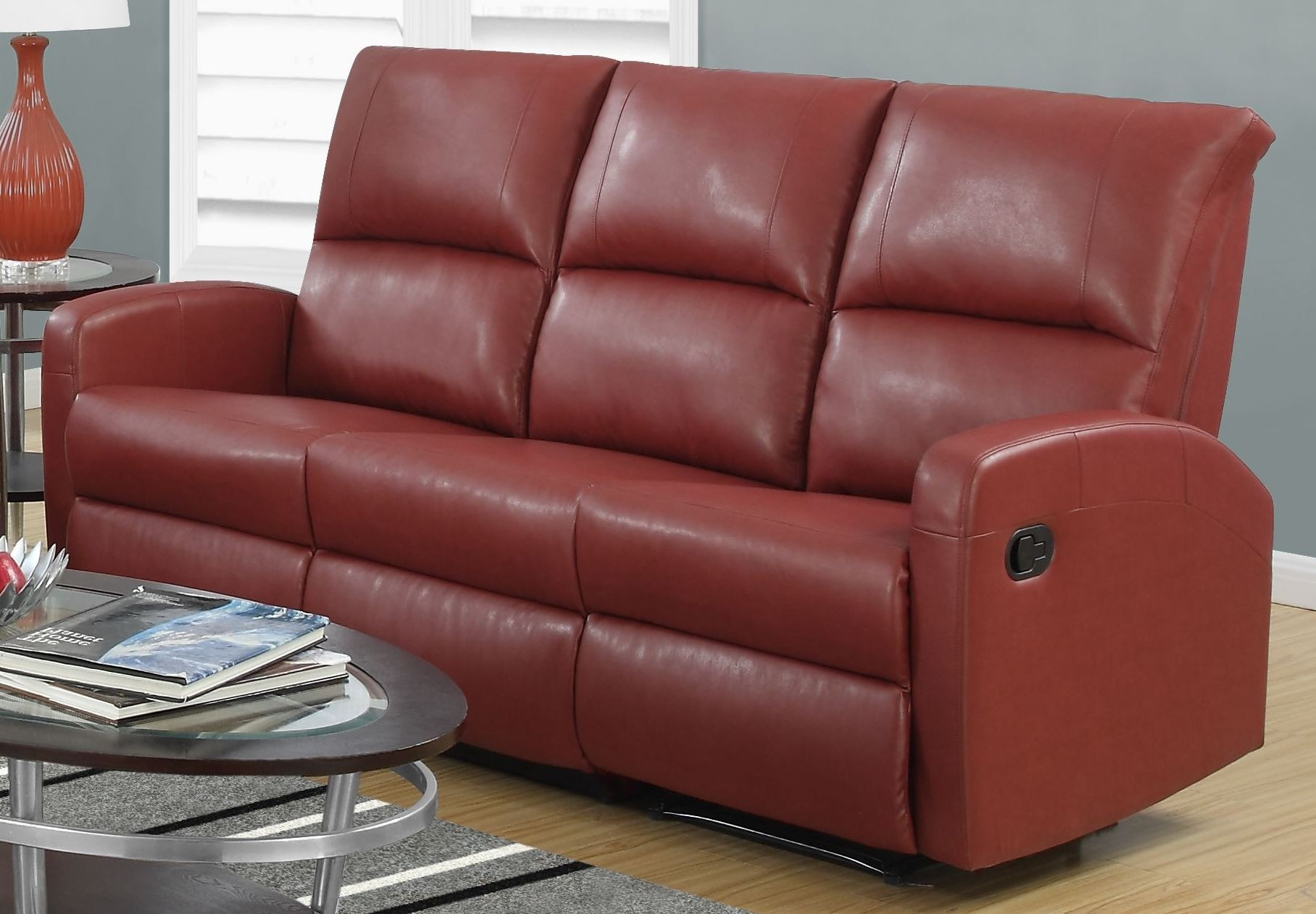 Red Bonded Leather Reclining Sofa 84rd 3 Monarch