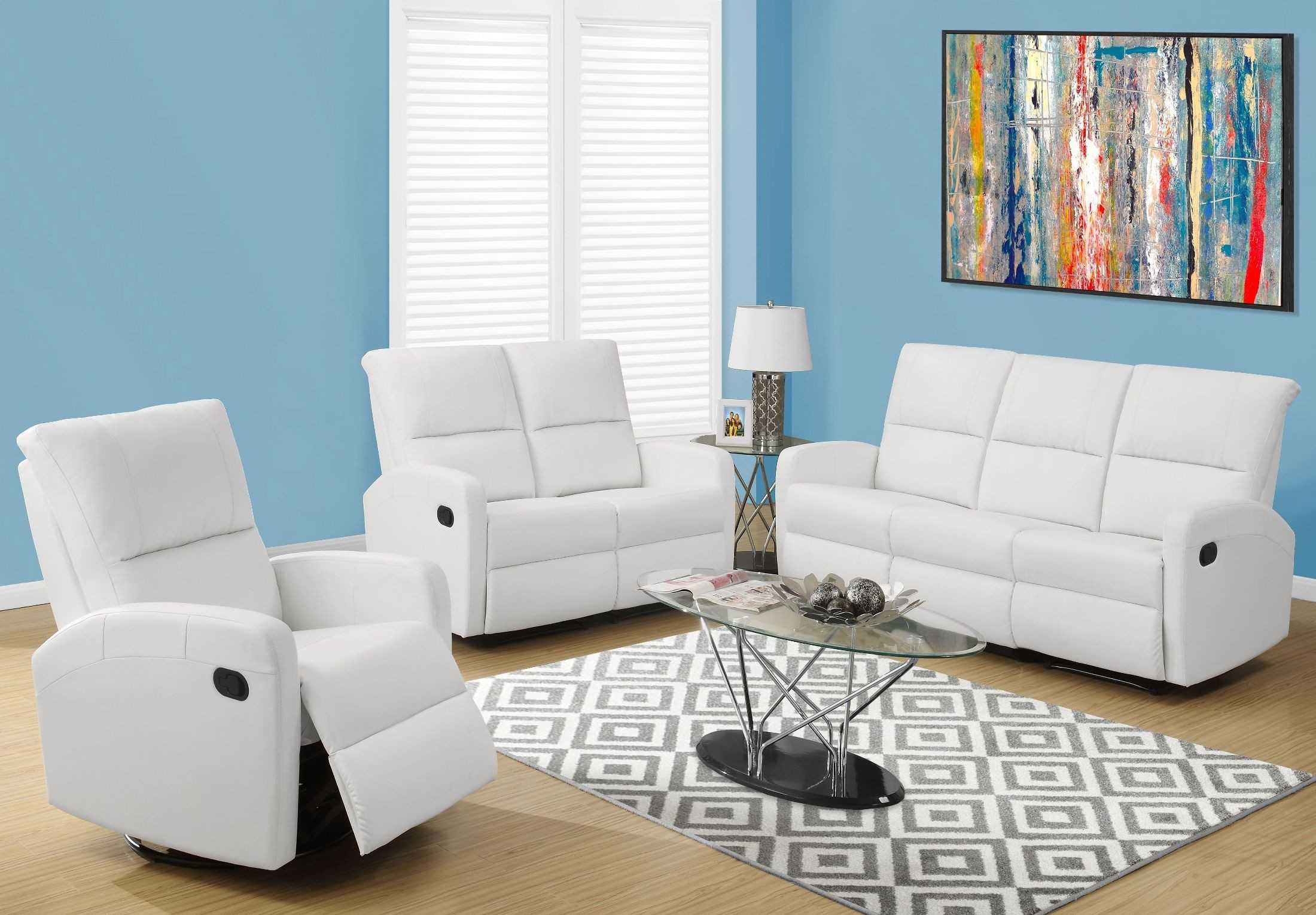 84wh 3 white bonded leather reclining living room set