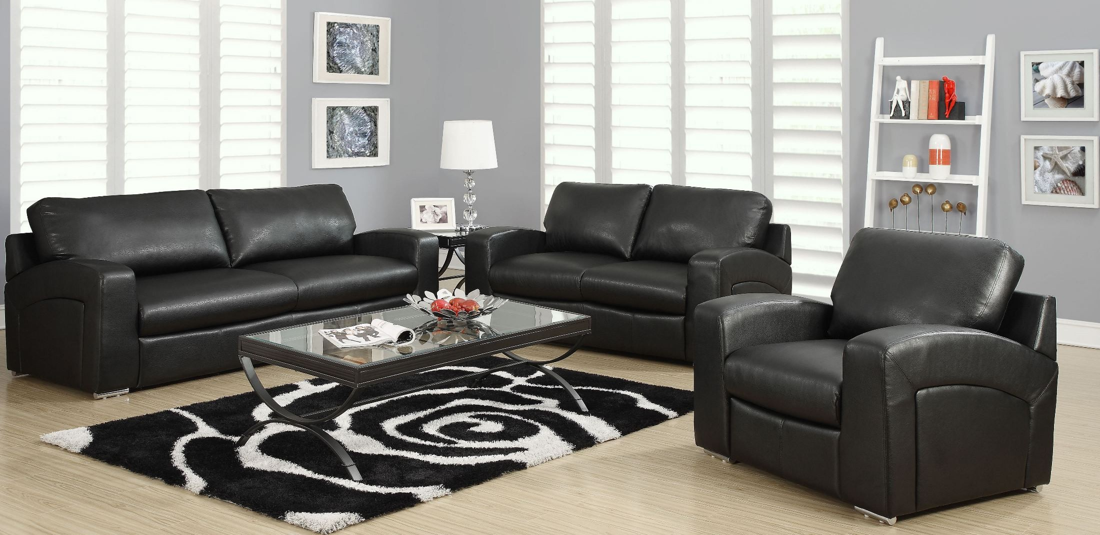 black bonded leather match sloped back living room set from monarch 8503bk coleman furniture. Black Bedroom Furniture Sets. Home Design Ideas