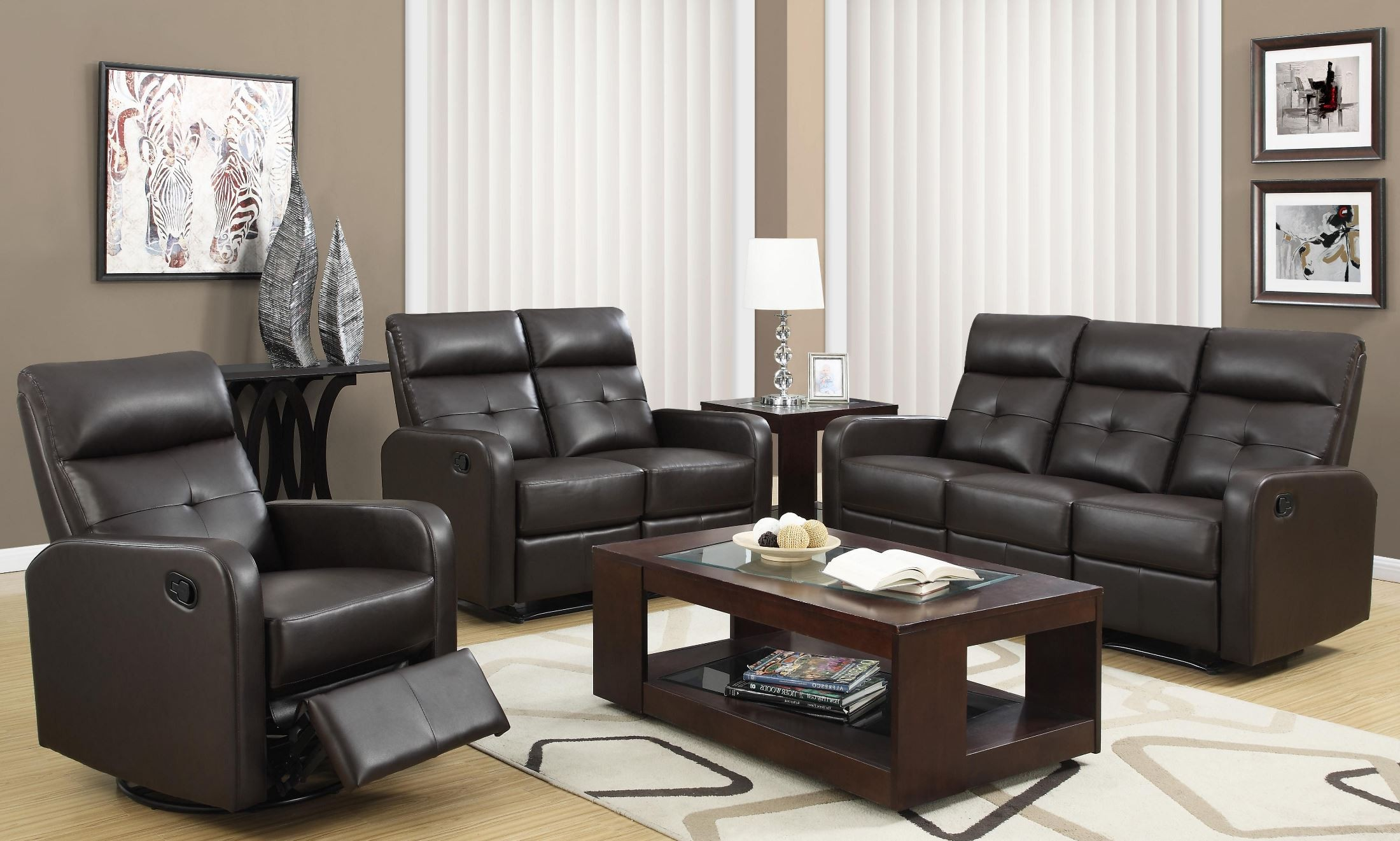 85br 3 brown bonded leather reclining living room set for Brown leather living room set