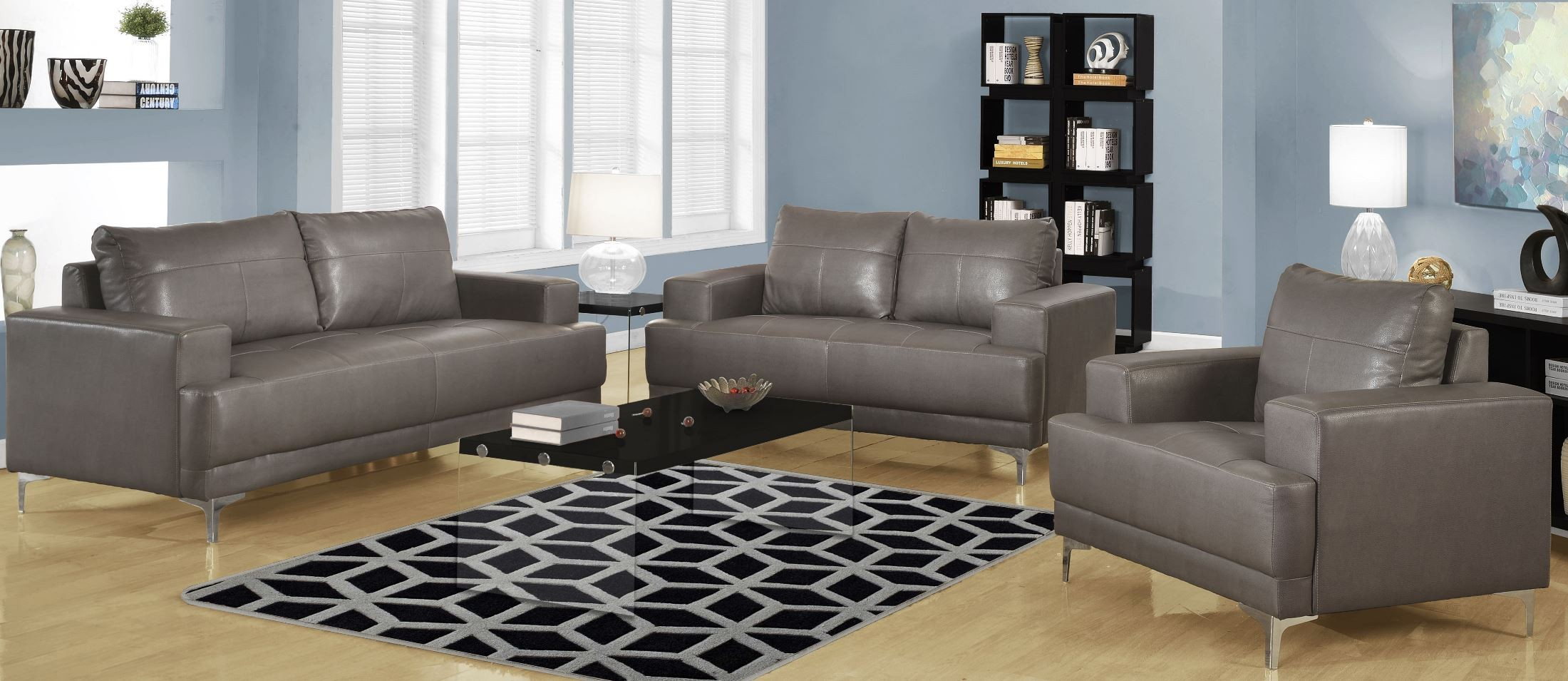 8603gy Charcoal Gray Bonded Leather Living Room Set 8603gy Monarch