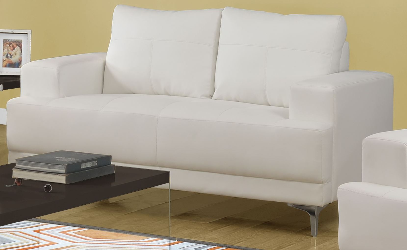 Ivory Bonded Leather Loveseat 8602iv Monarch