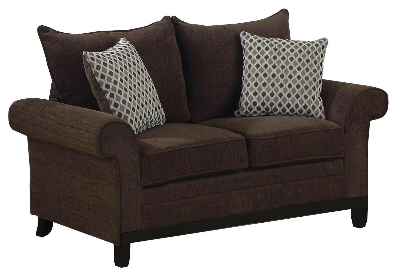 Chocolate Chenille Fabric Loveseat With 2 Accent Pillows 8732ch Monarch