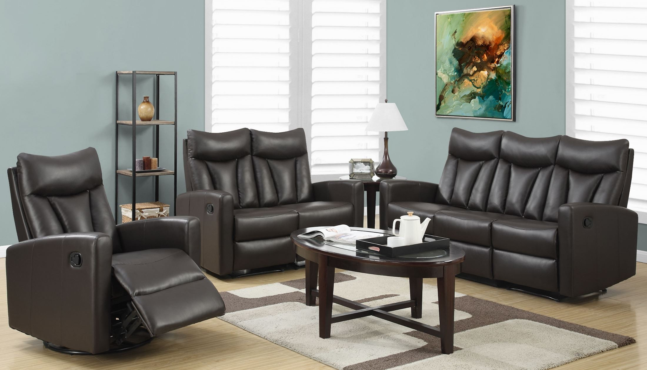 87br 3 brown bonded leather reclining living room set