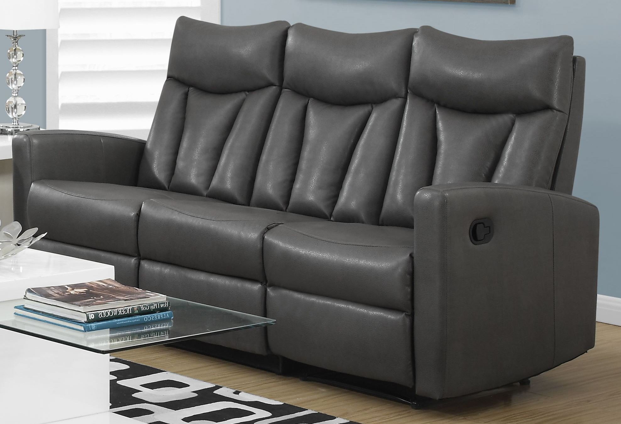 87gy 3 charcoal grey bonded leather reclining sofa 87gy 3 monarch. Black Bedroom Furniture Sets. Home Design Ideas