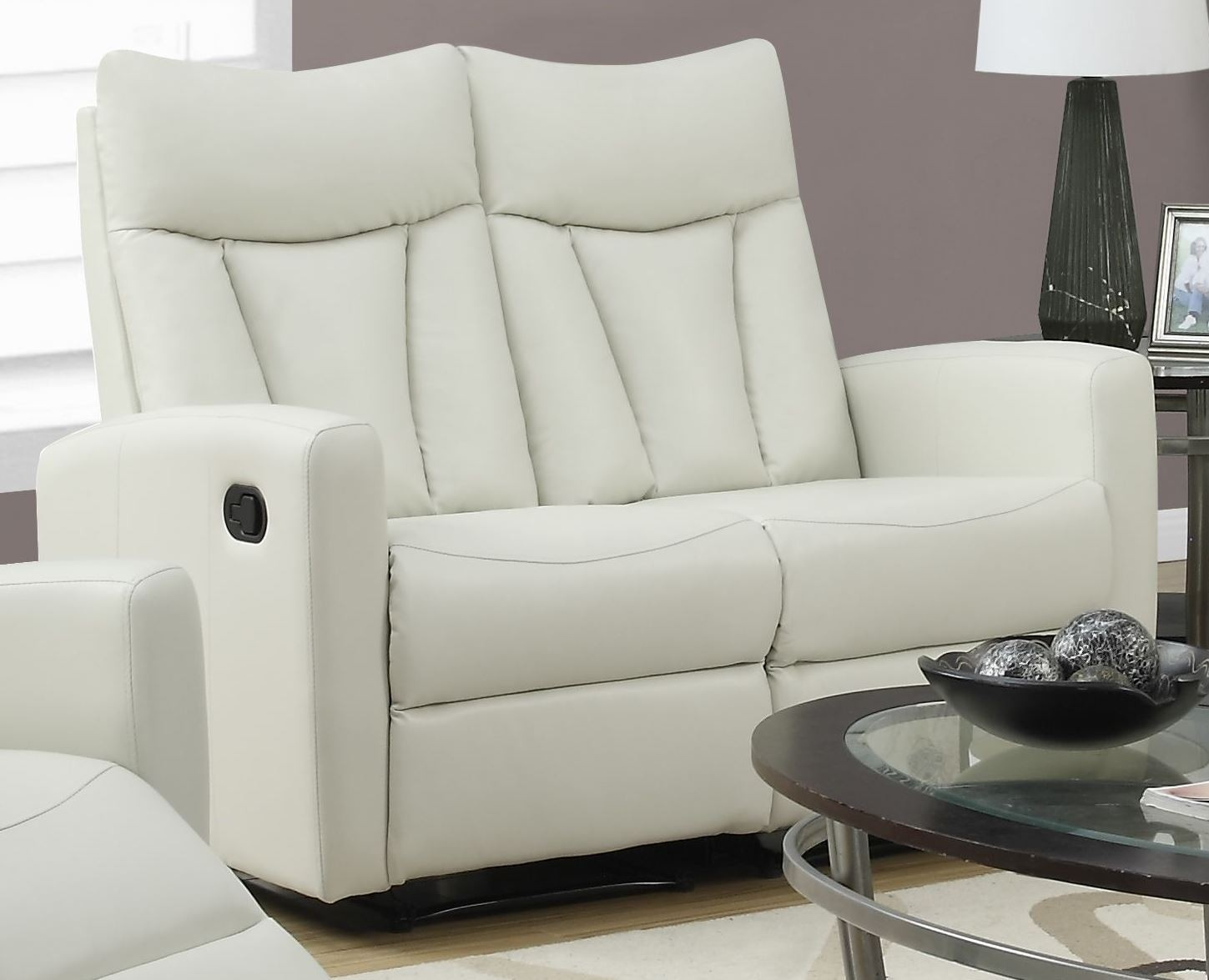 817iv 2 Ivory Bonded Leather Reclining Loveseat 87iv 2 Monarch